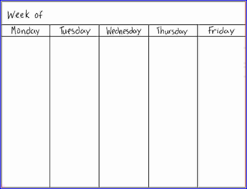 7 Day Weekly Work Schedule Template