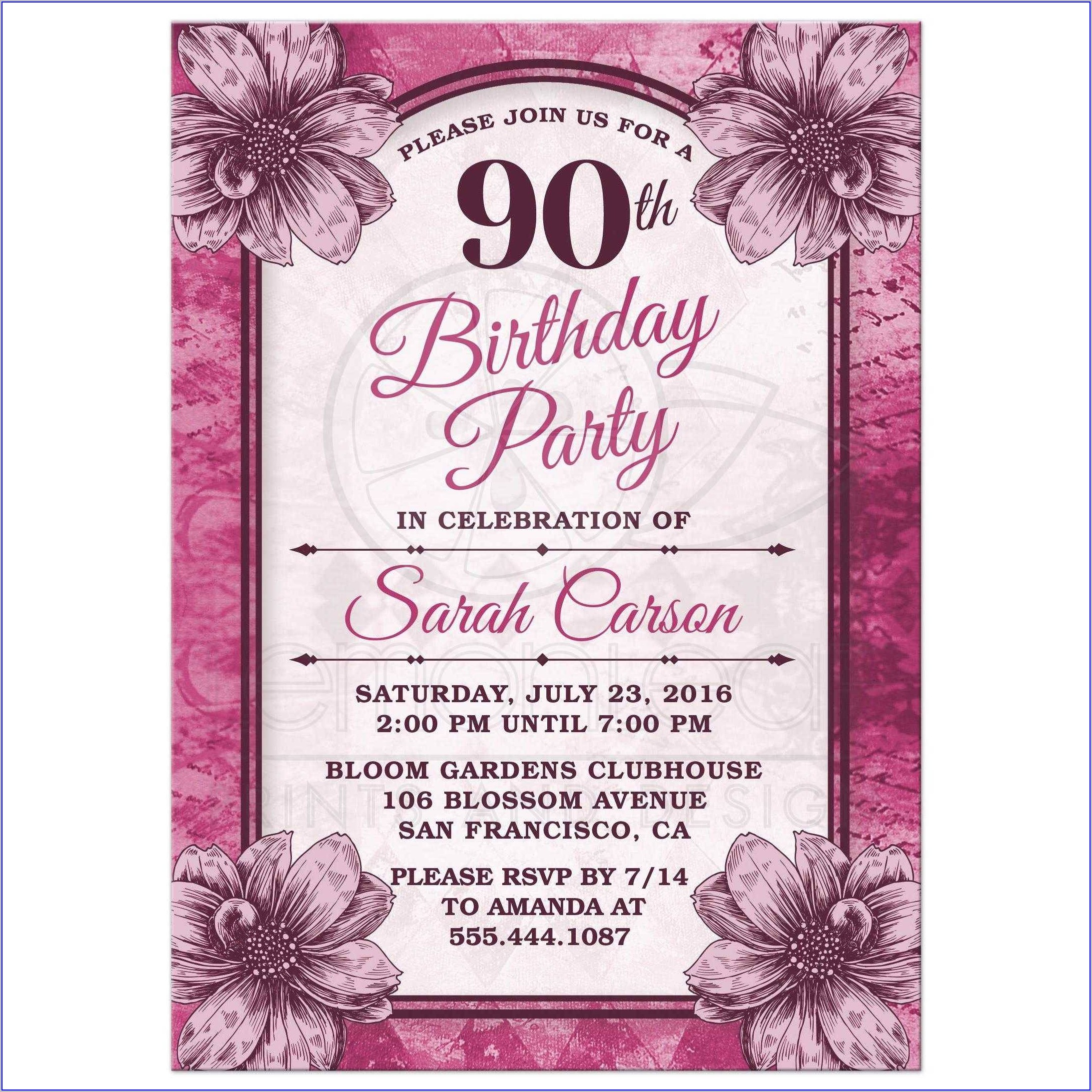90th Birthday Invitations With Photo