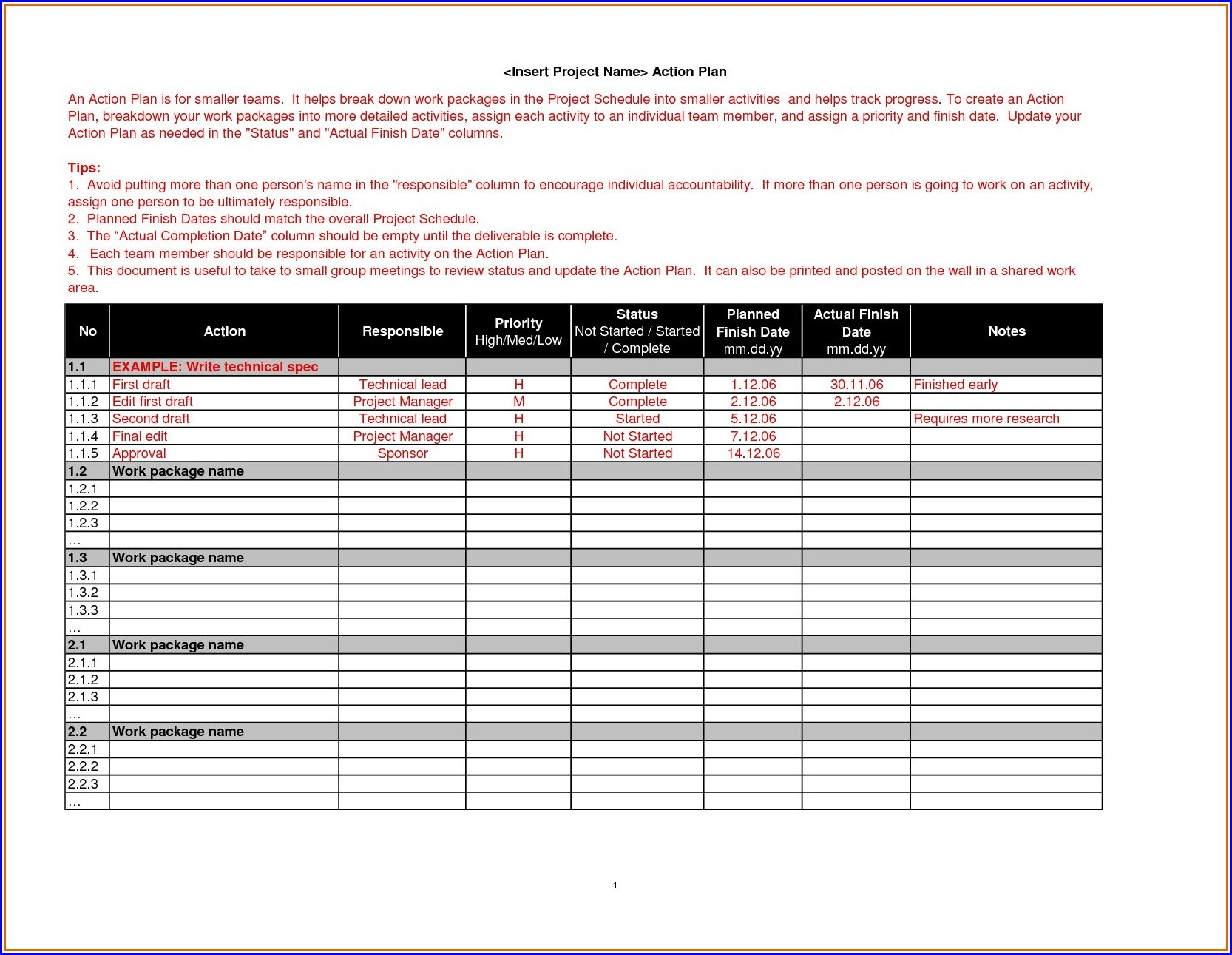 Action Plan Work Plan Template Word