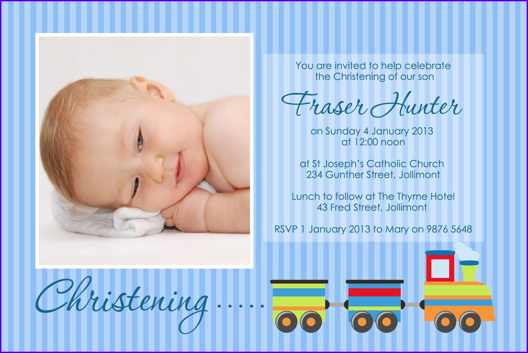 Baby Boy Baptism Invitation Layout