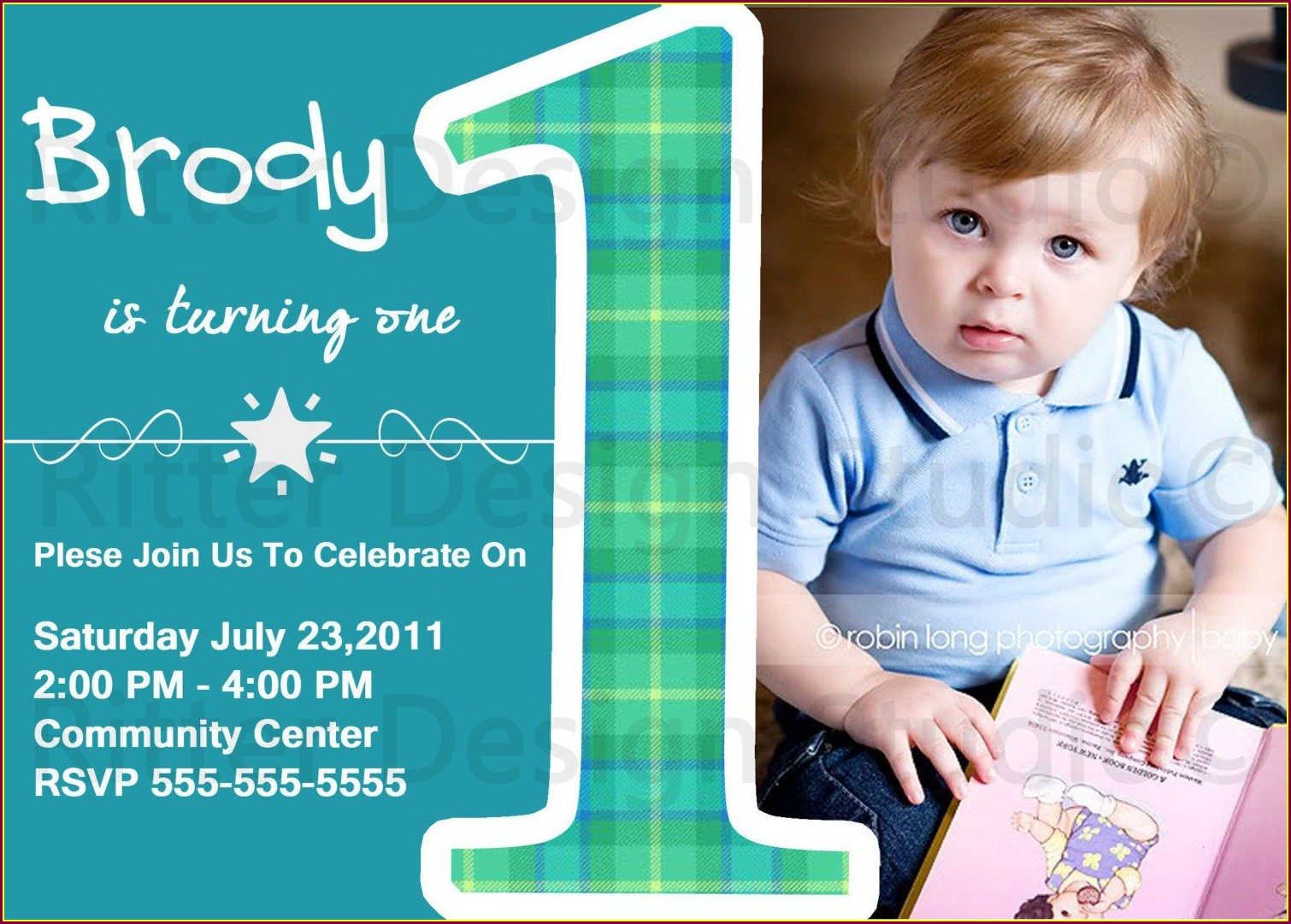 Baby Boy Unique 1st Birthday Invitations Boy