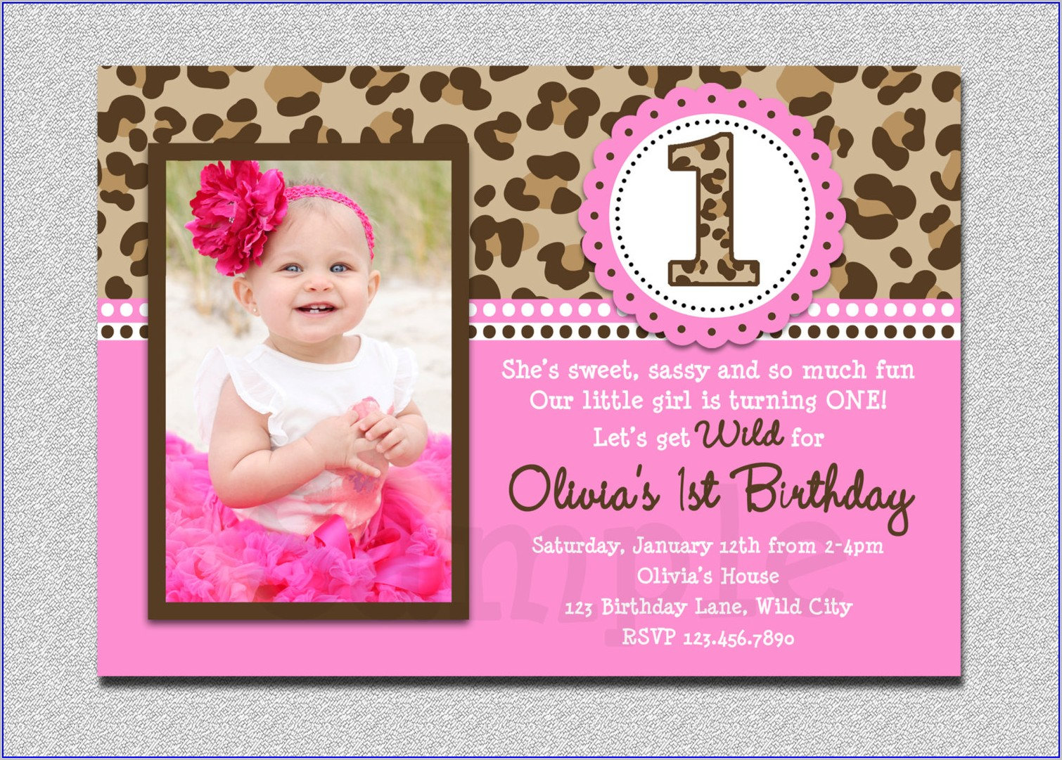 Baby Girl 1st Birthday Invitation Template Free