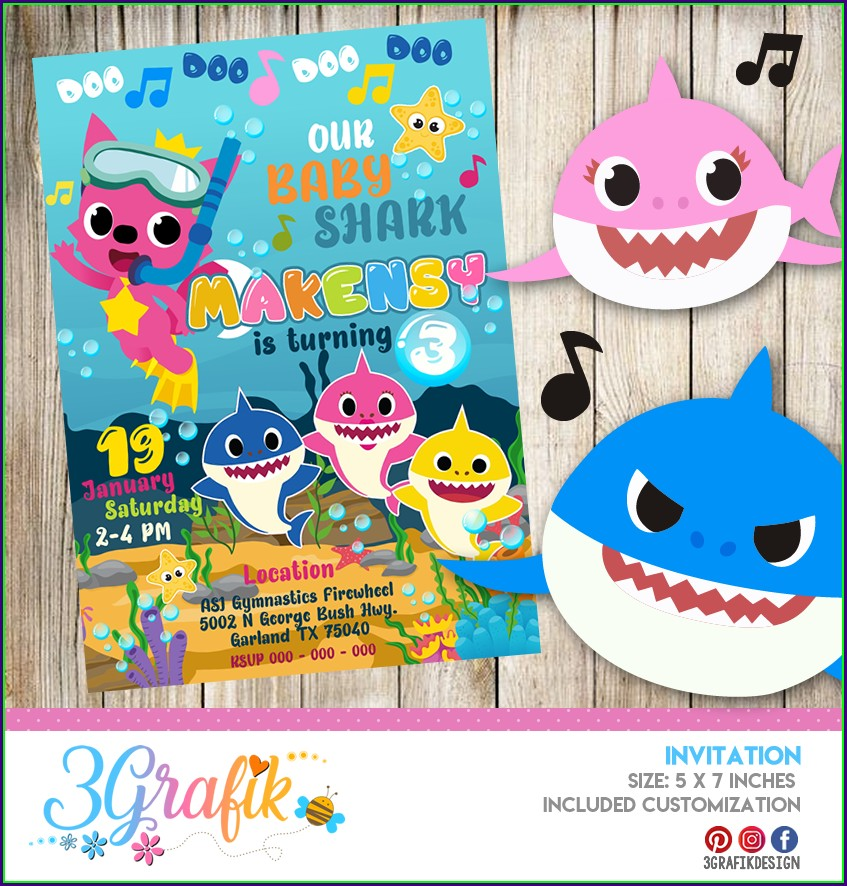 Baby Shark Birthday Invitation Card Online