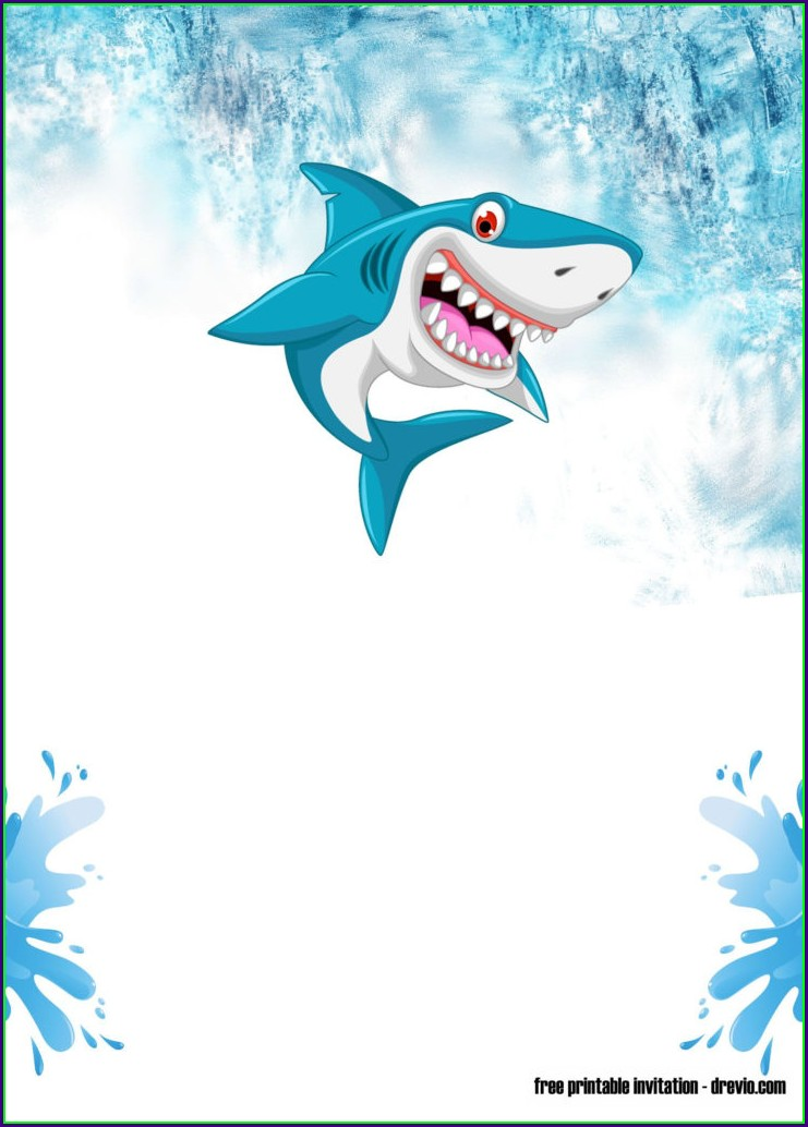 Baby Shark Birthday Invitation Cards