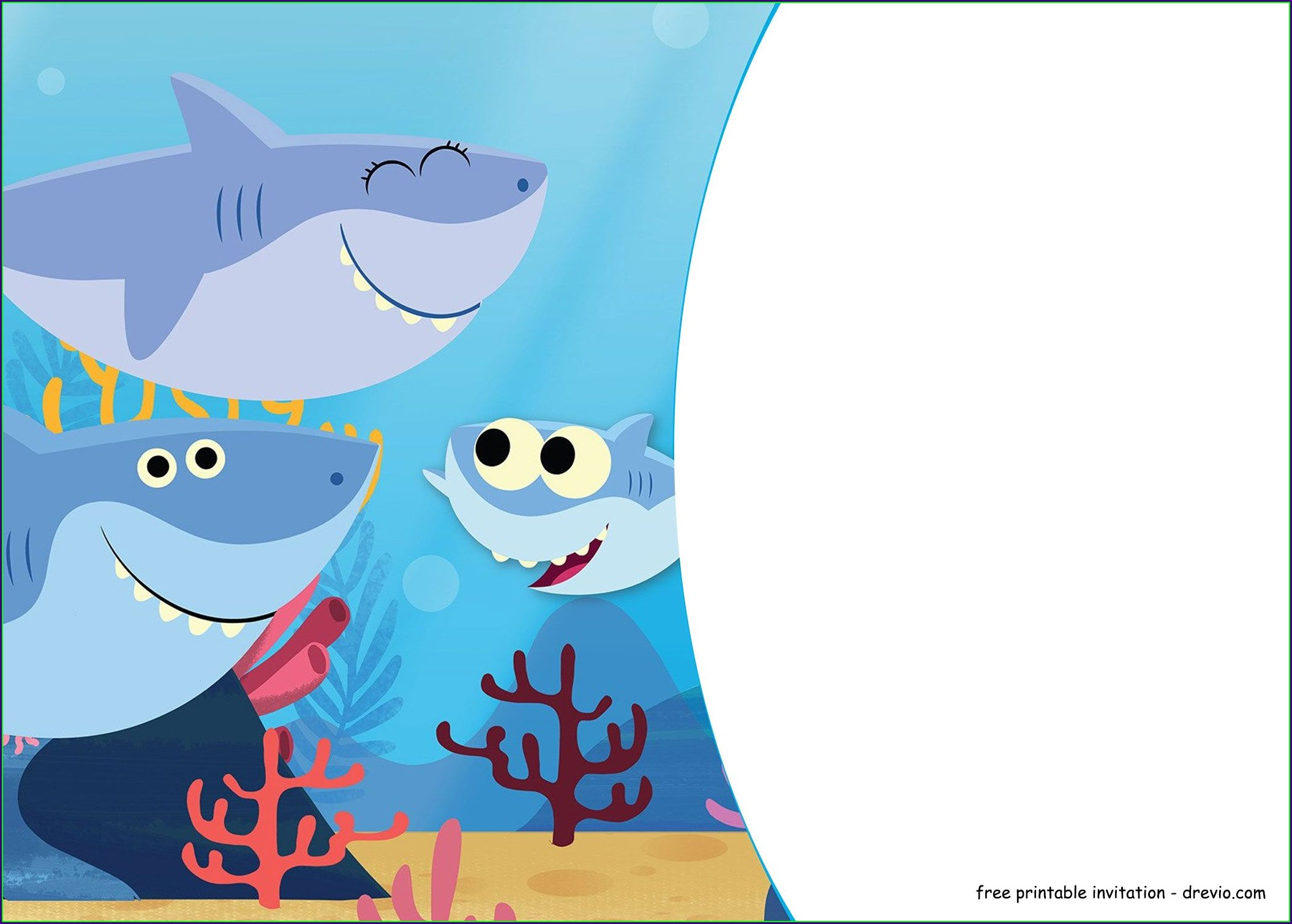 Baby Shark Birthday Invitation Template Free