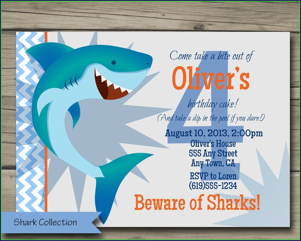 Baby Shark Theme Birthday Invitation Card