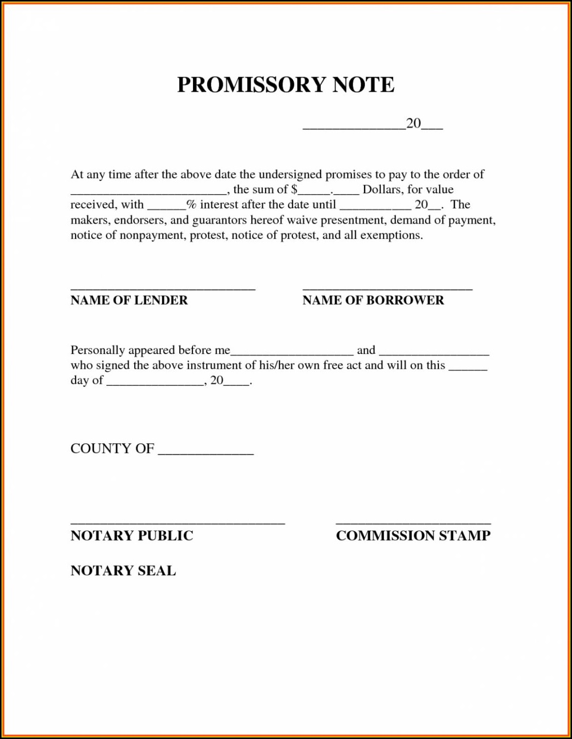 Basic Promissory Note Template Word