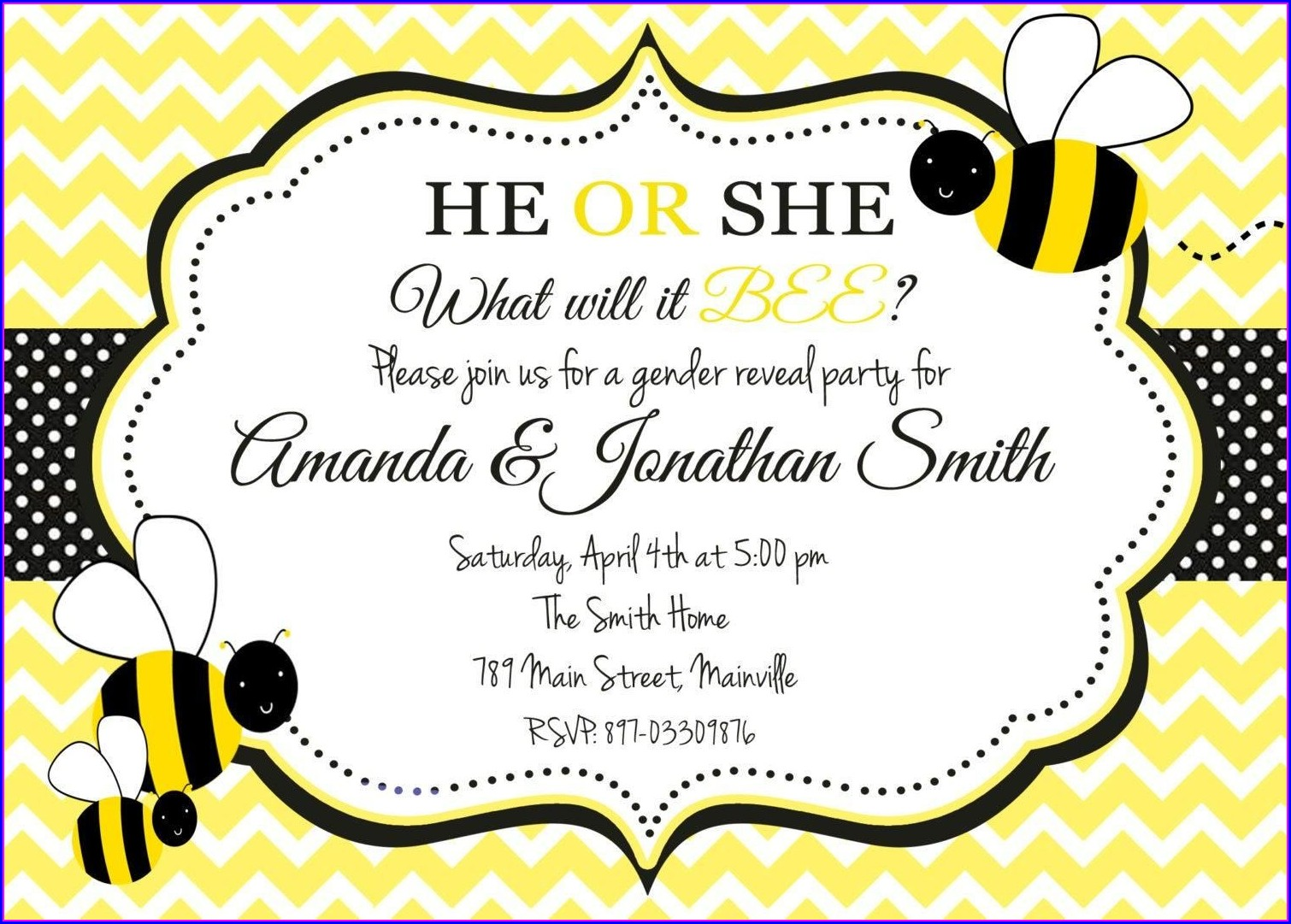 Bee Gender Reveal Invitations Free