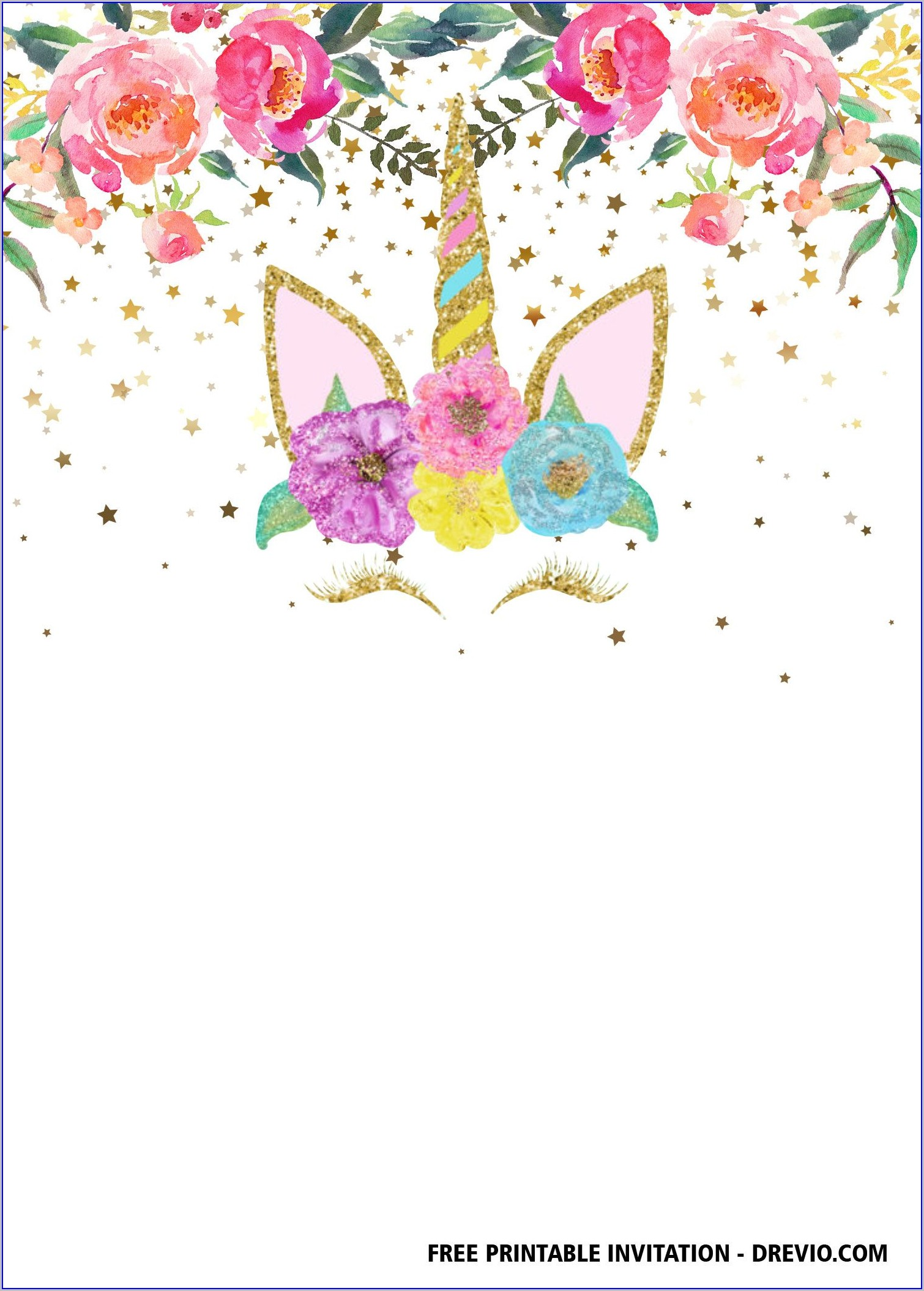 Birthday Invitation Printable Free Unicorn Templates