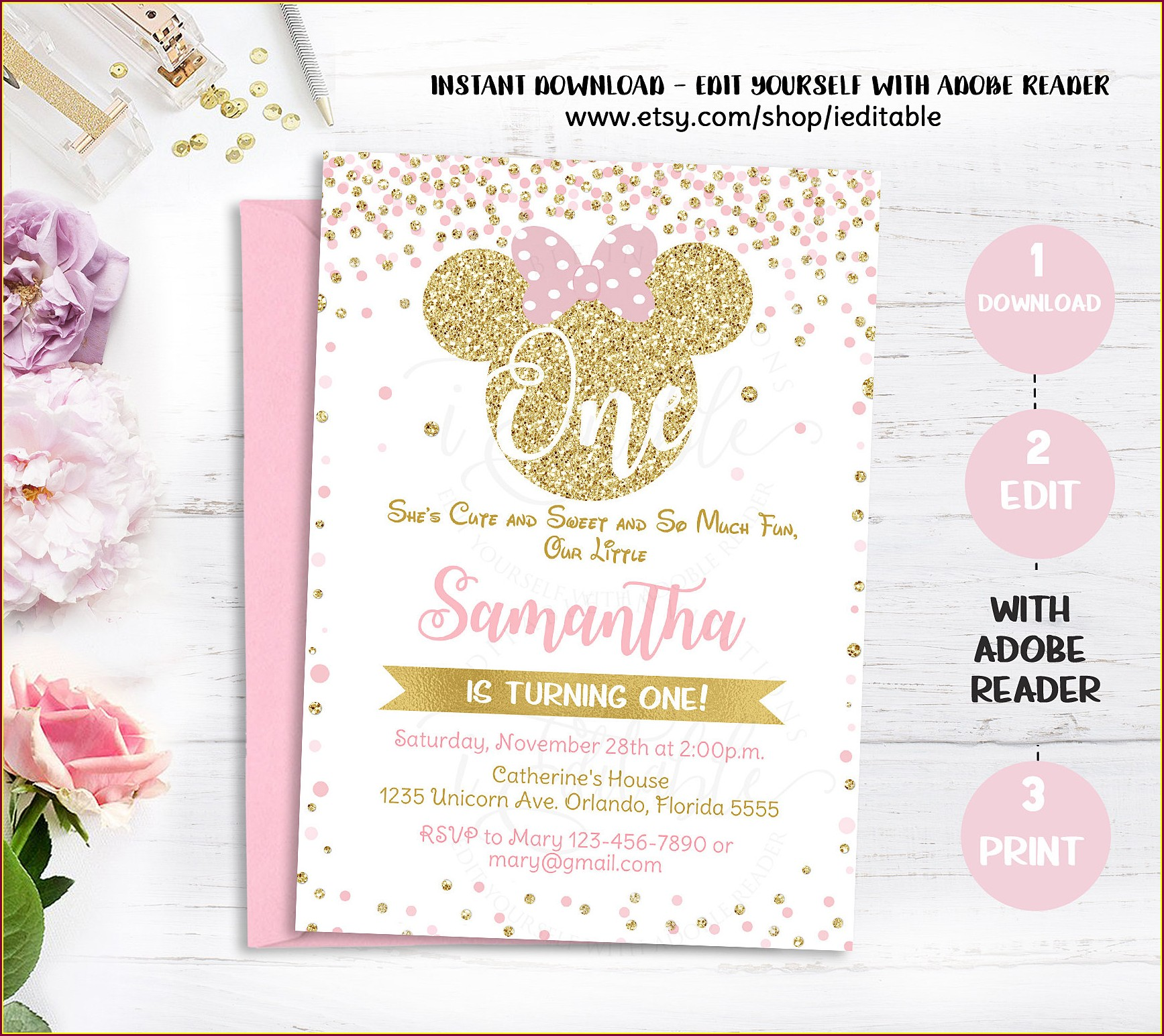 Birthday Minnie Mouse Invitation Template Pink And Gold