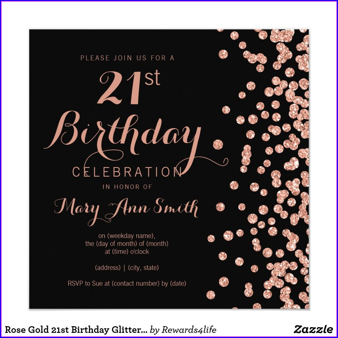 Black And Rose Gold Party Invitations