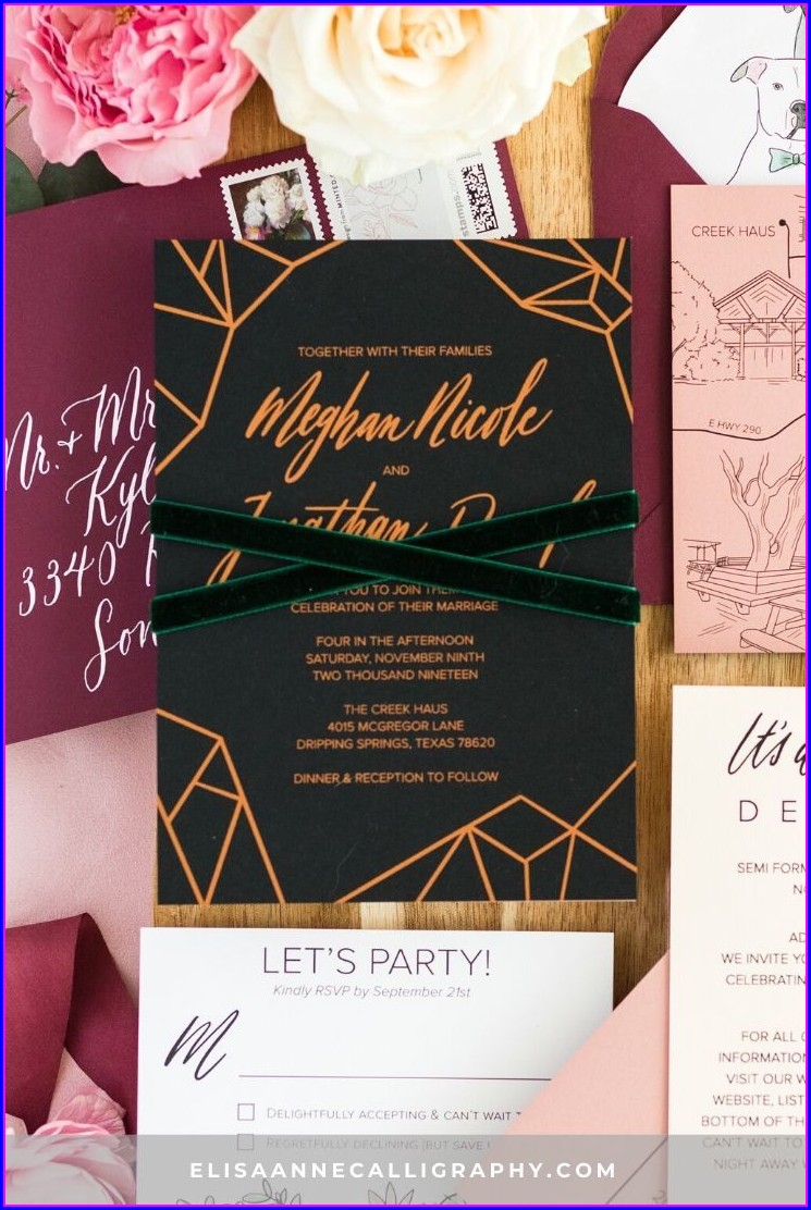 Black And Rose Gold Wedding Invitations