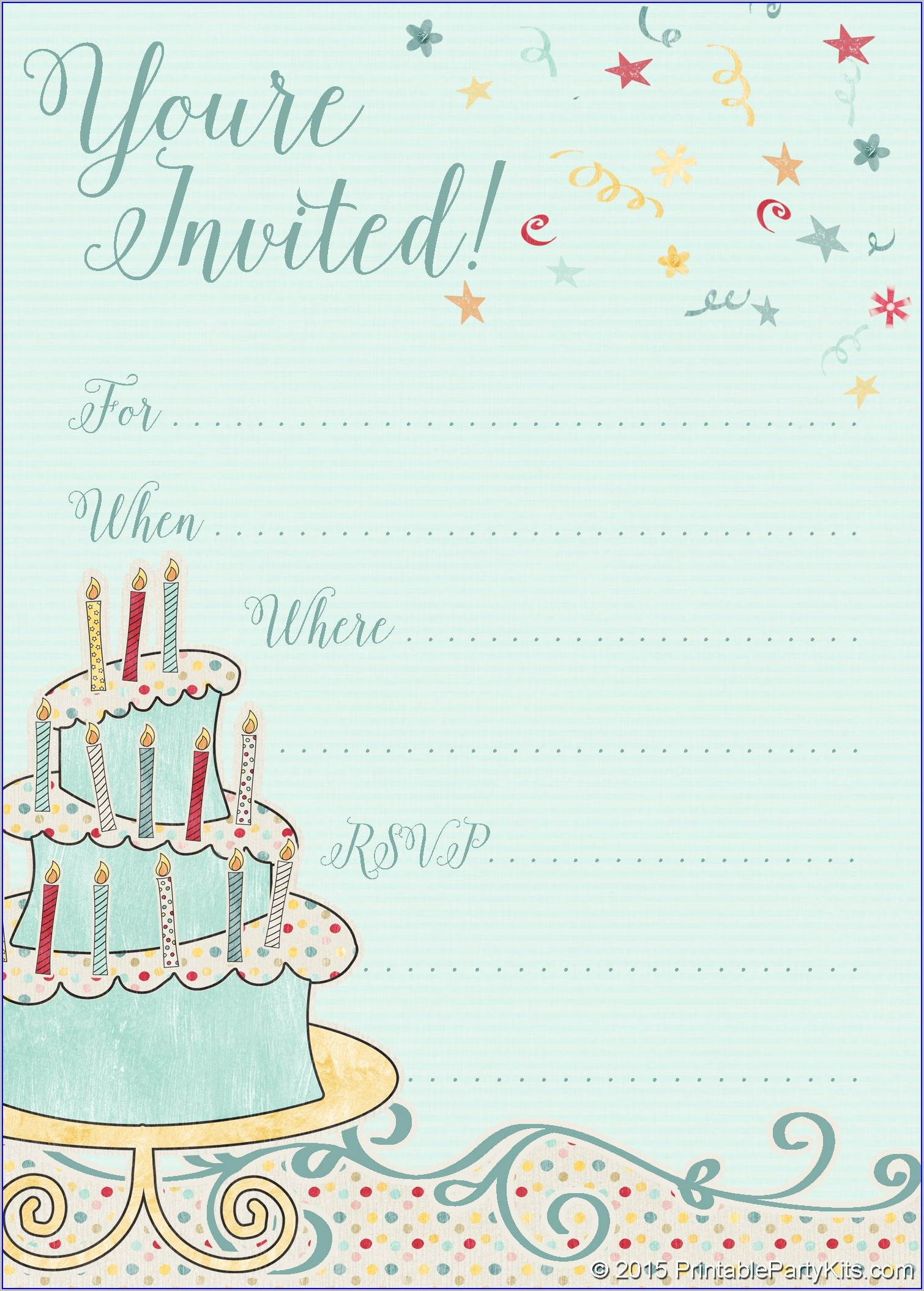 Blank 13th Birthday Invitation Templates