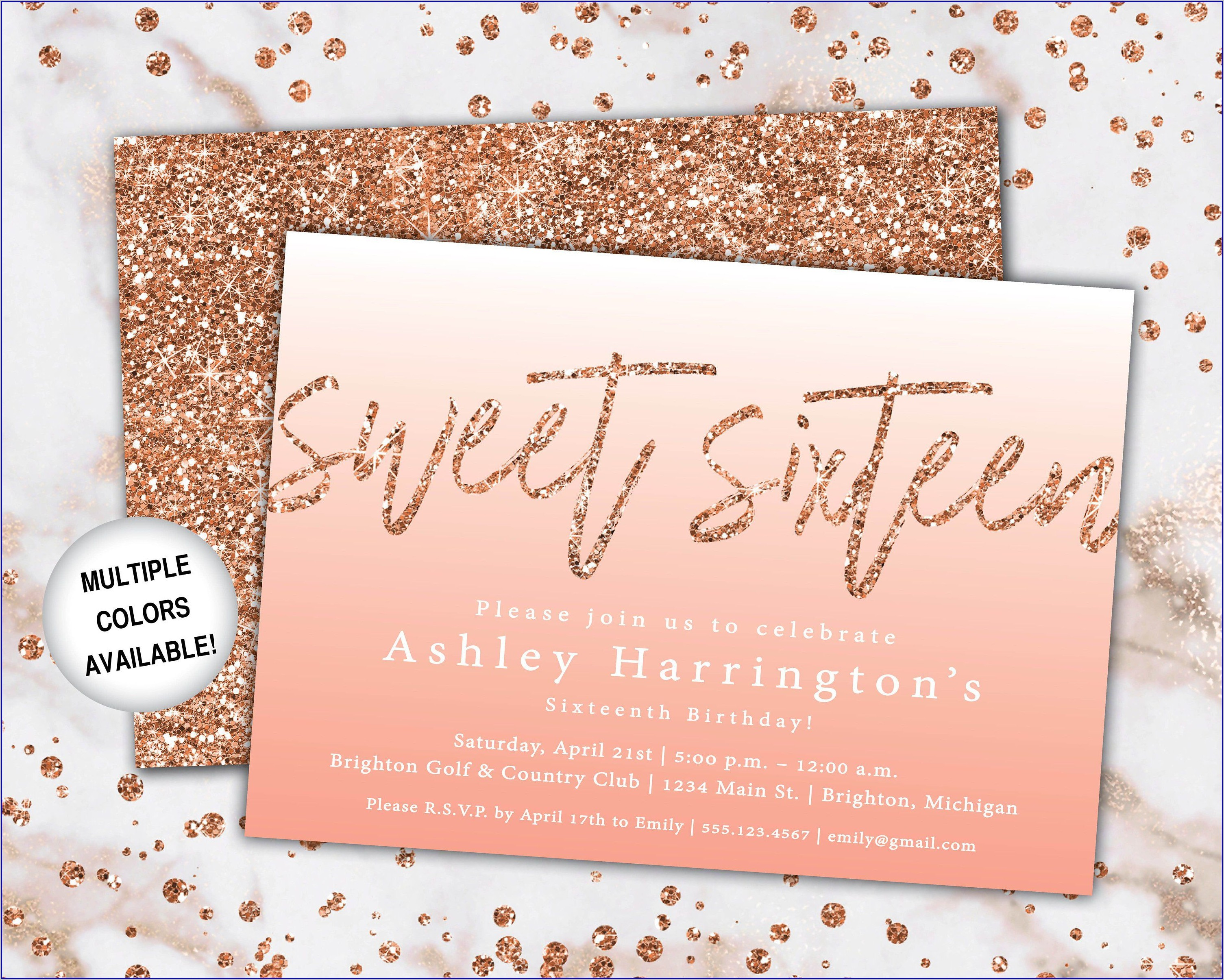 Blank 16th Birthday Invitations Free Templates