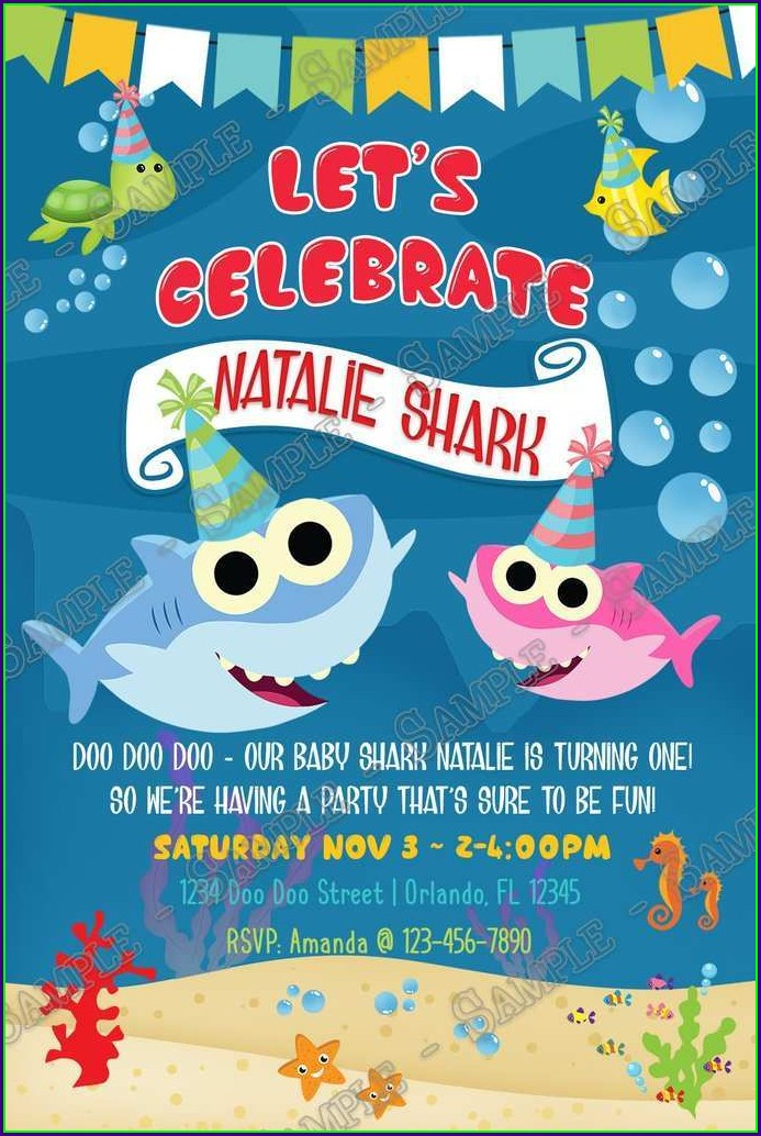 Blank Baby Shark Birthday Invitation