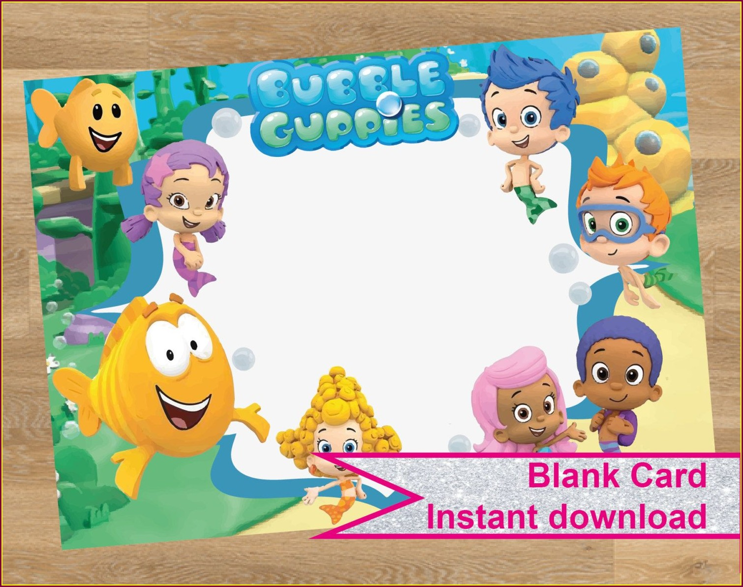 Blank Bubble Guppies Birthday Invitations
