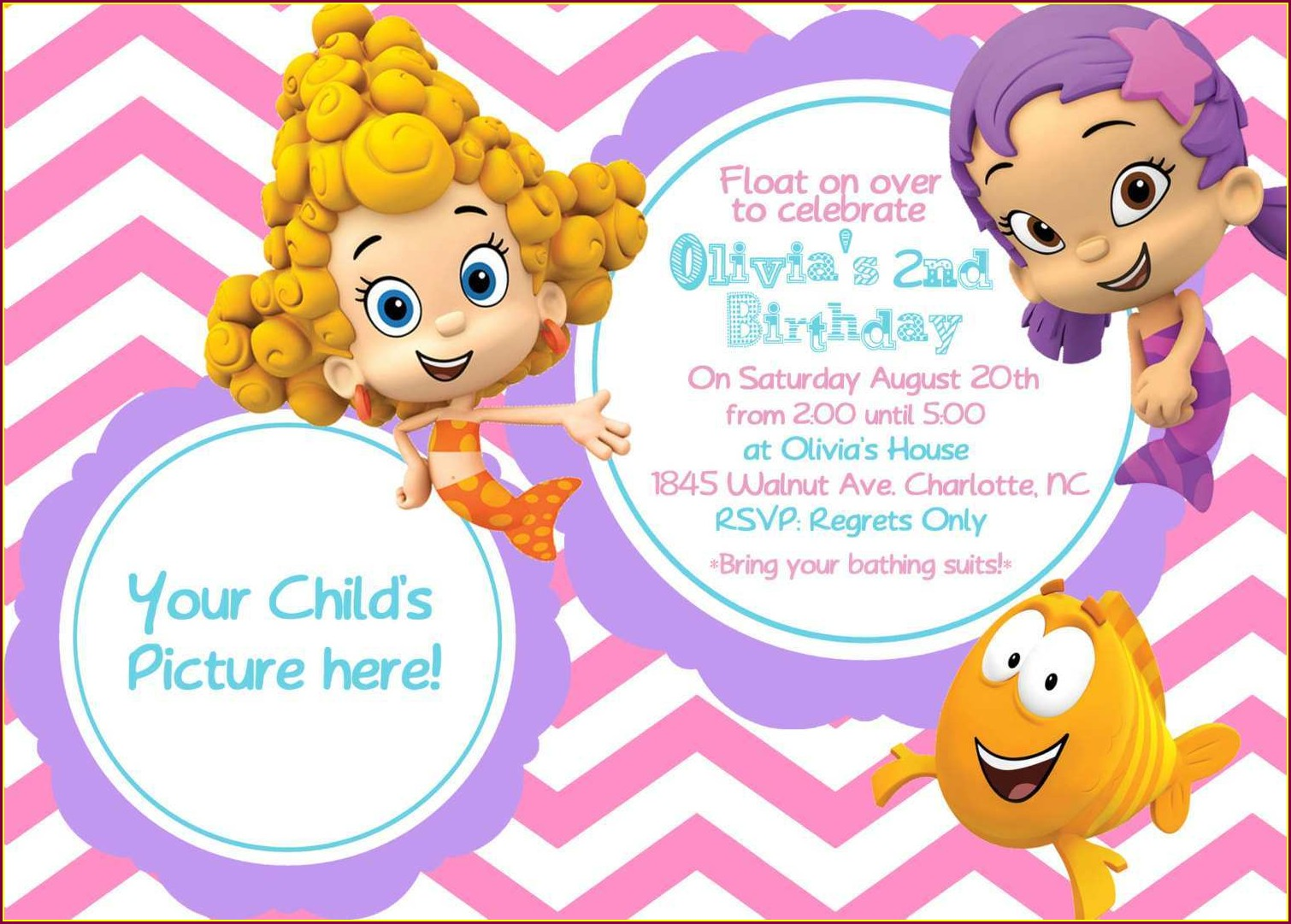 Blank Bubble Guppies Invitations