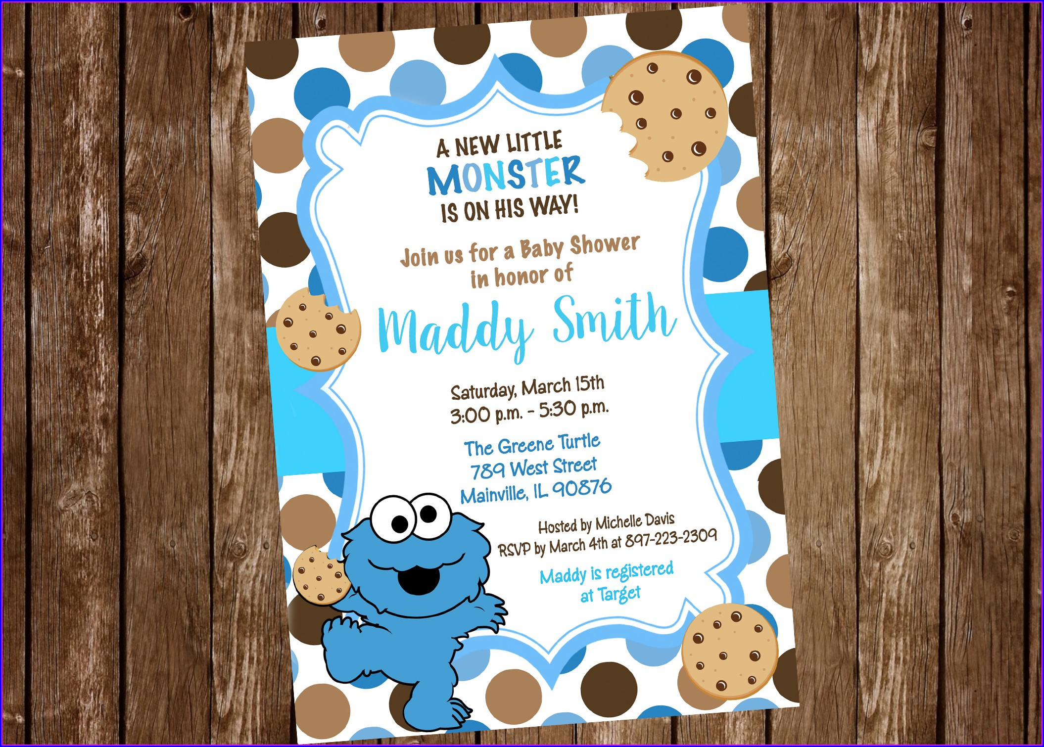 Blank Cookie Monster Baby Shower Invitations