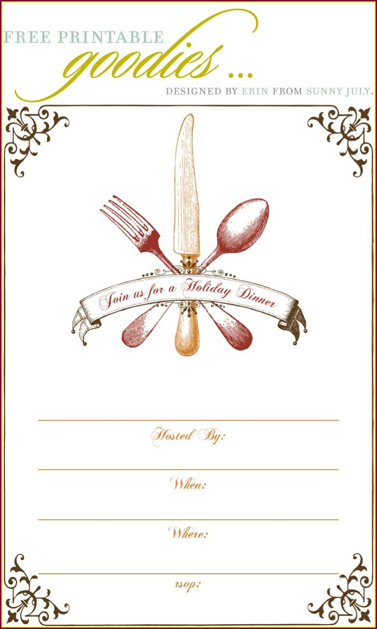 Blank Dinner Invitation Template Free Printable