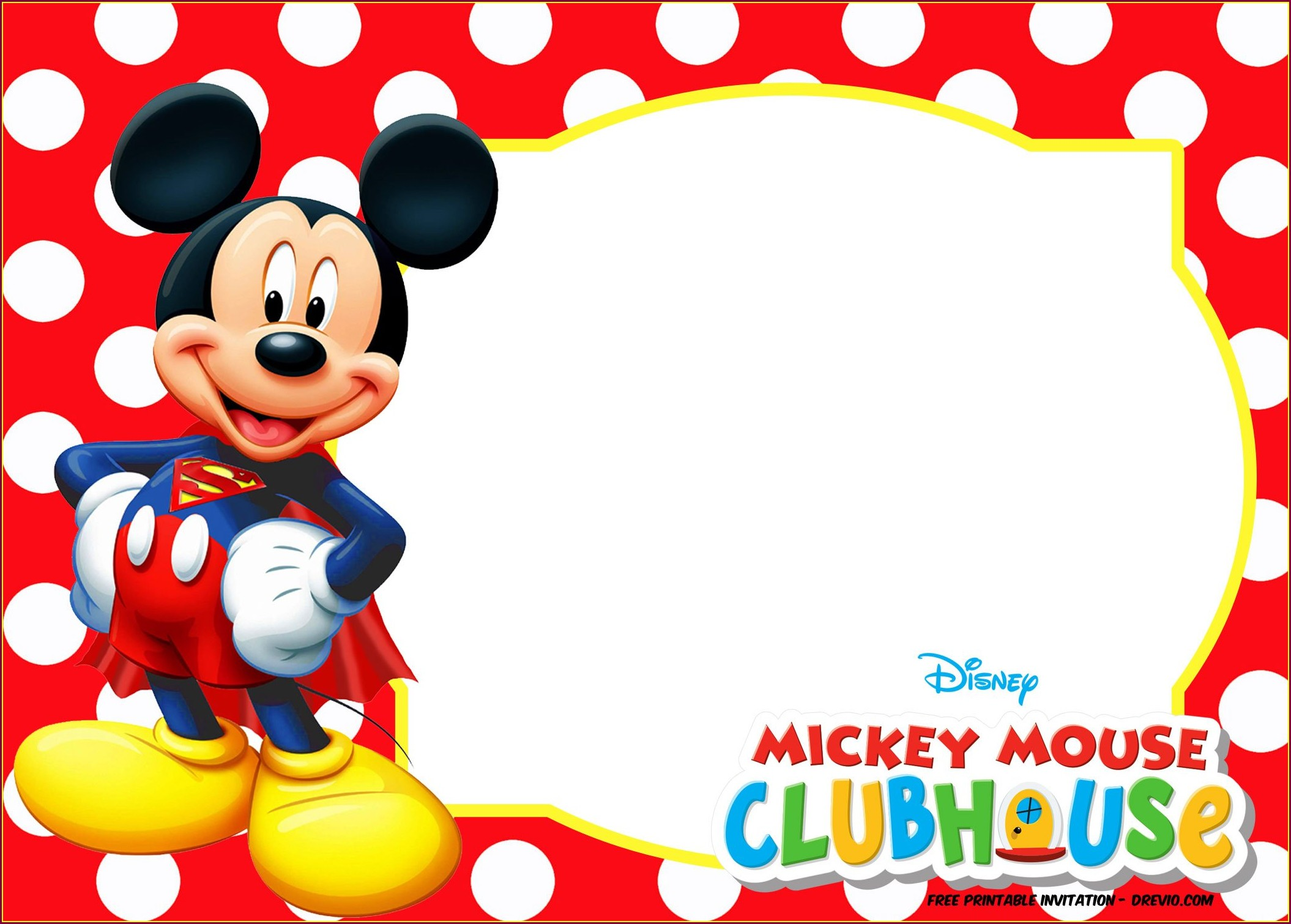 Blank Mickey Mouse 1st Birthday Invitations