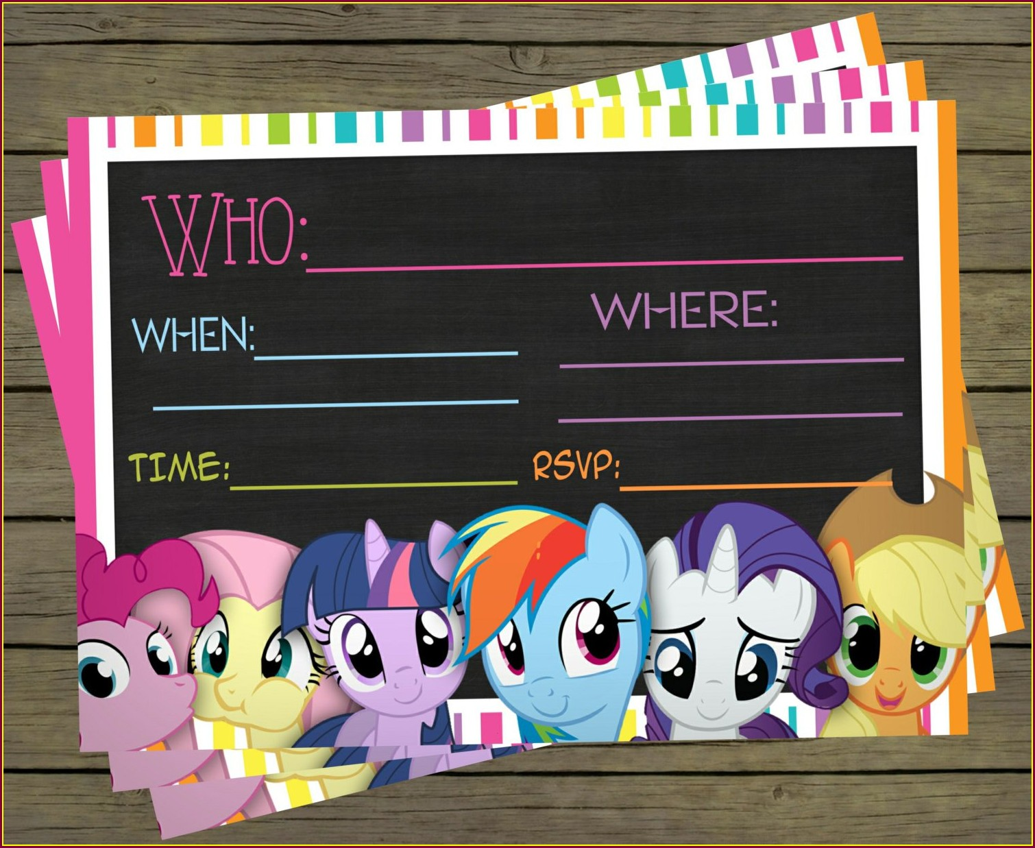 Blank My Little Pony Birthday Invitations