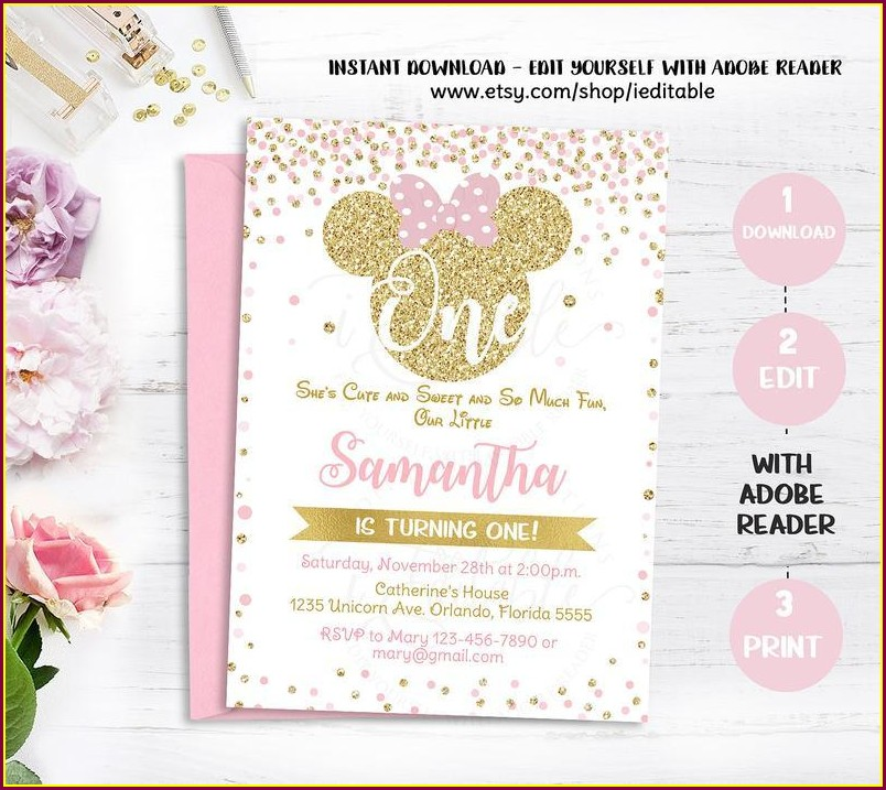Blank Pink And Gold Minnie Mouse Invitation Template