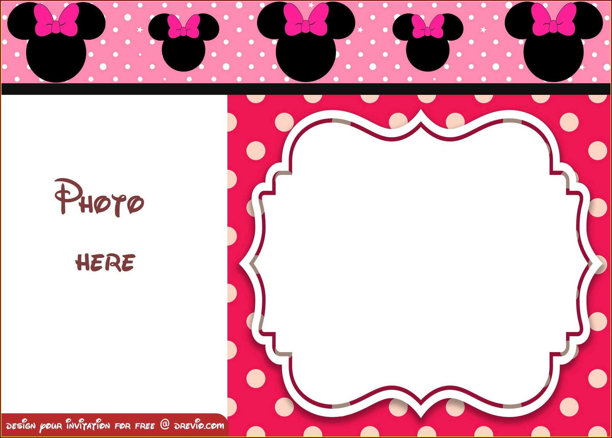 Blank Pink Minnie Mouse Invitation Template