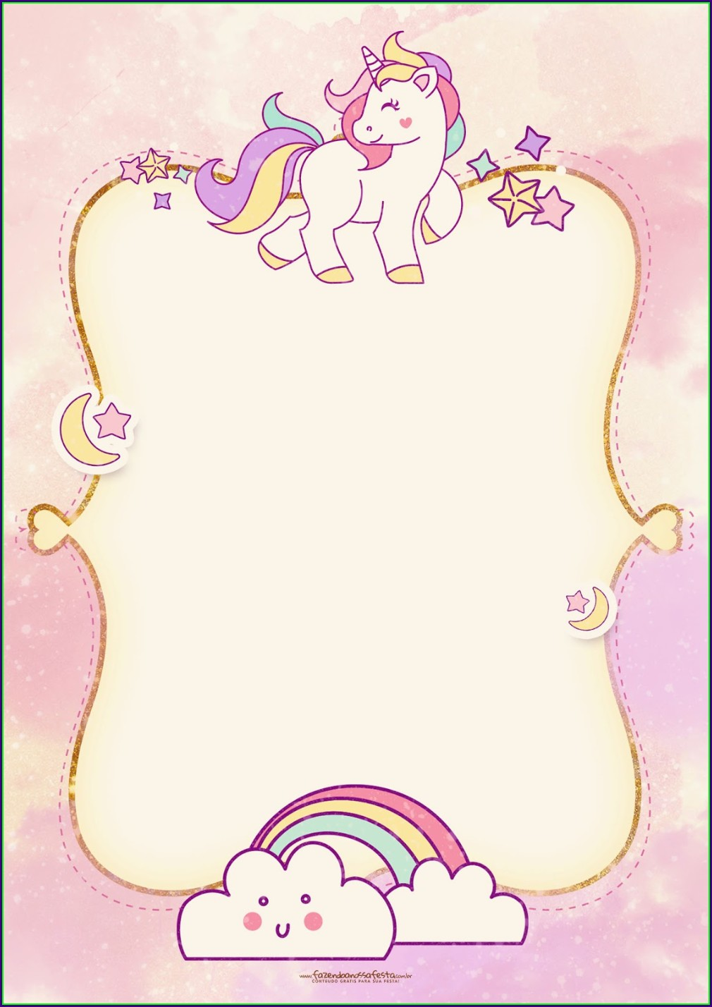 Blank Printable Unicorn Invitation Template Hd
