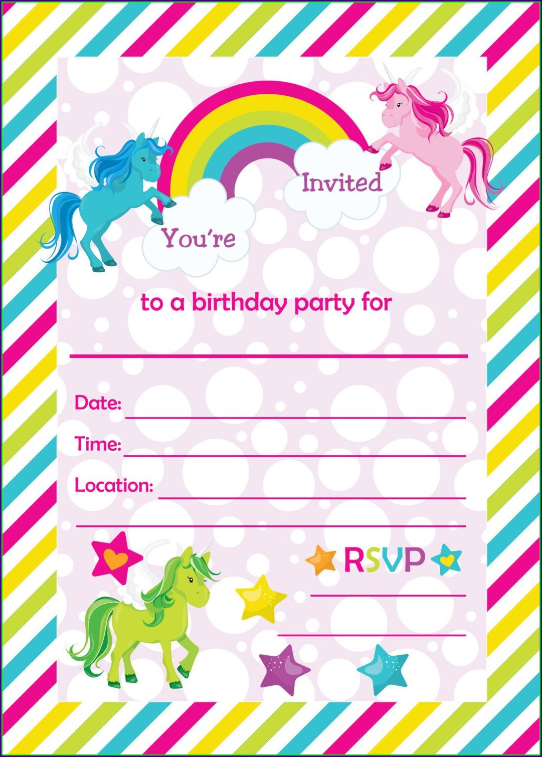 Blank Printable Unicorn Invitation Template