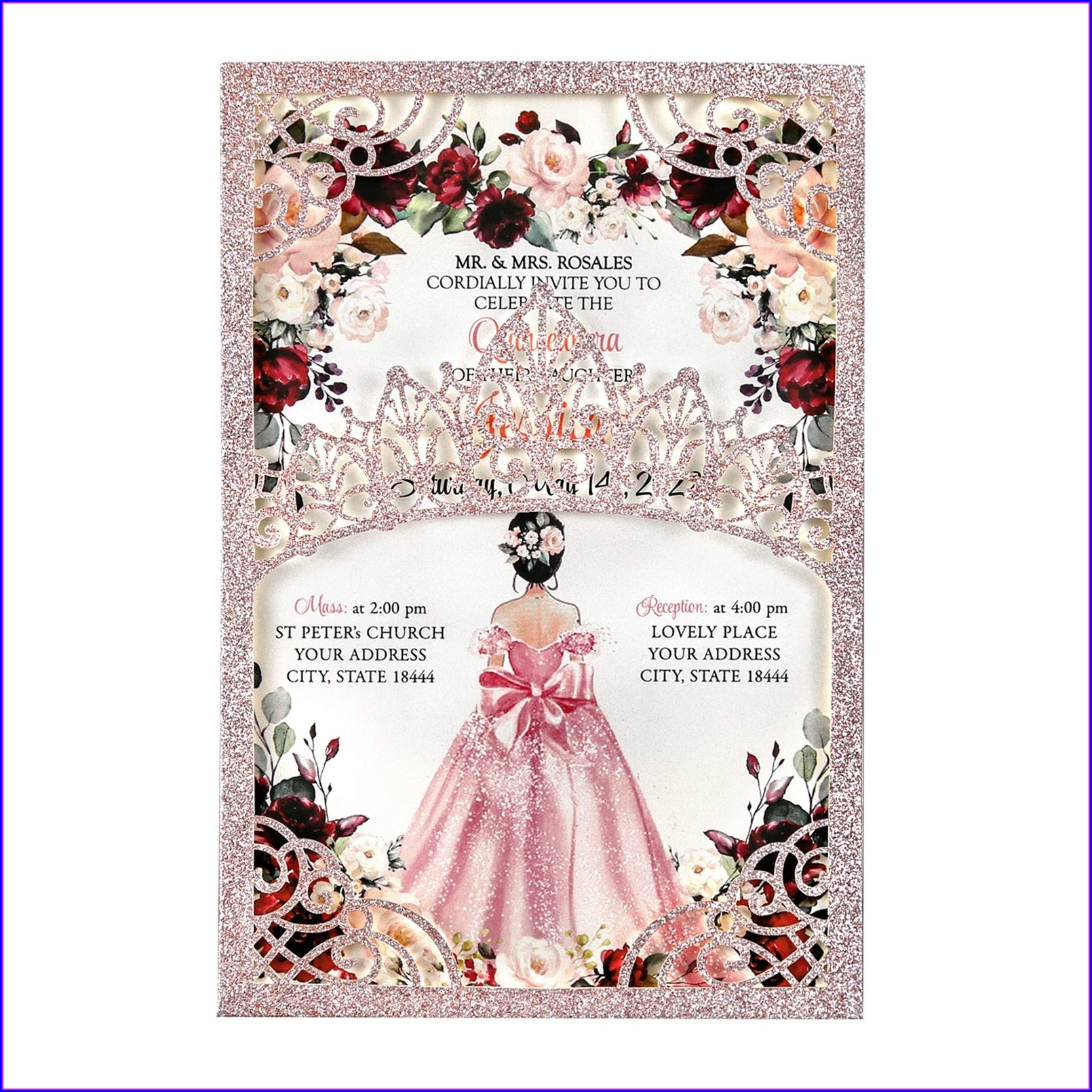 Blank Quinceanera Invitations Rose Gold