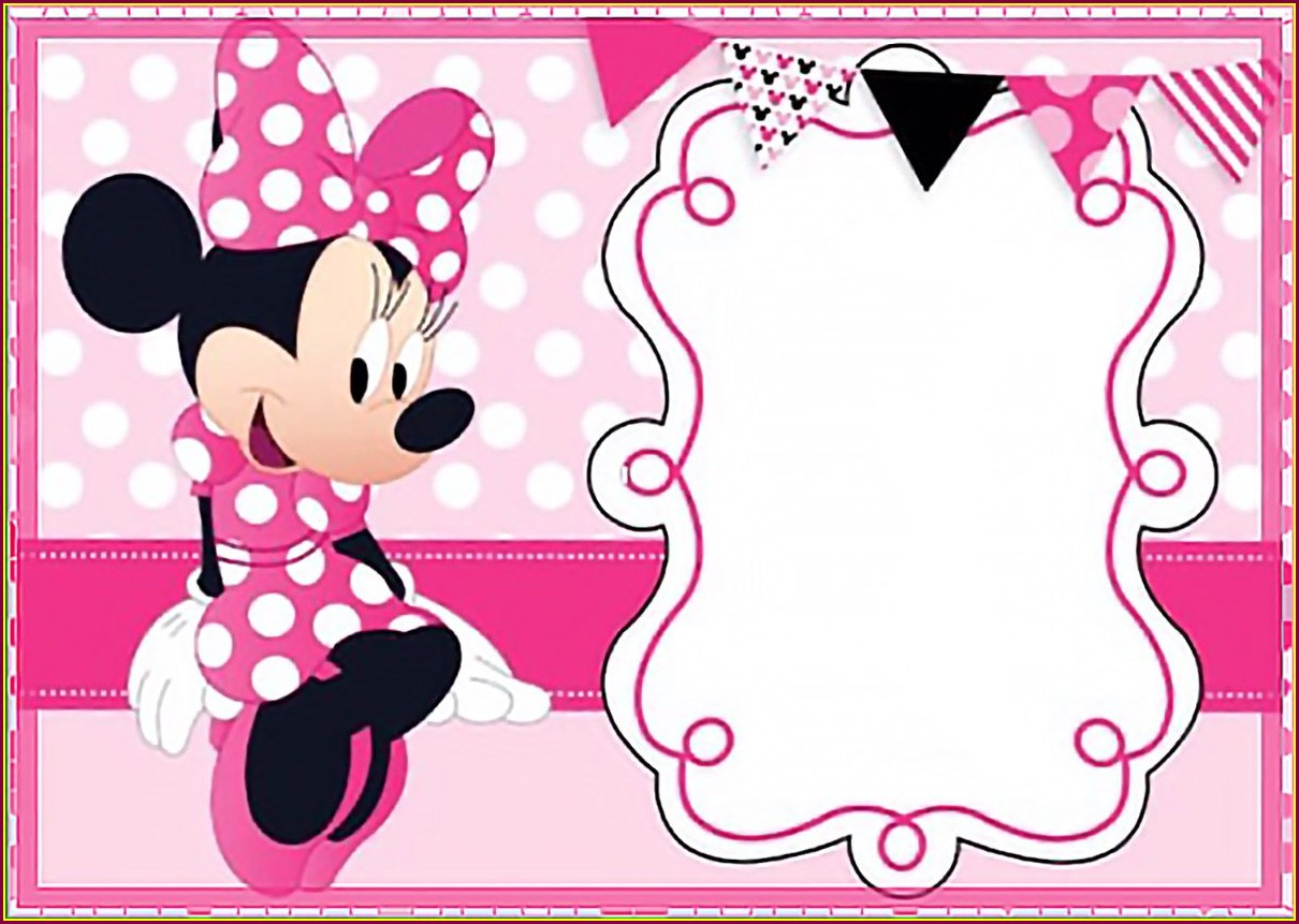 Blank Red Minnie Mouse Invitation Template Free