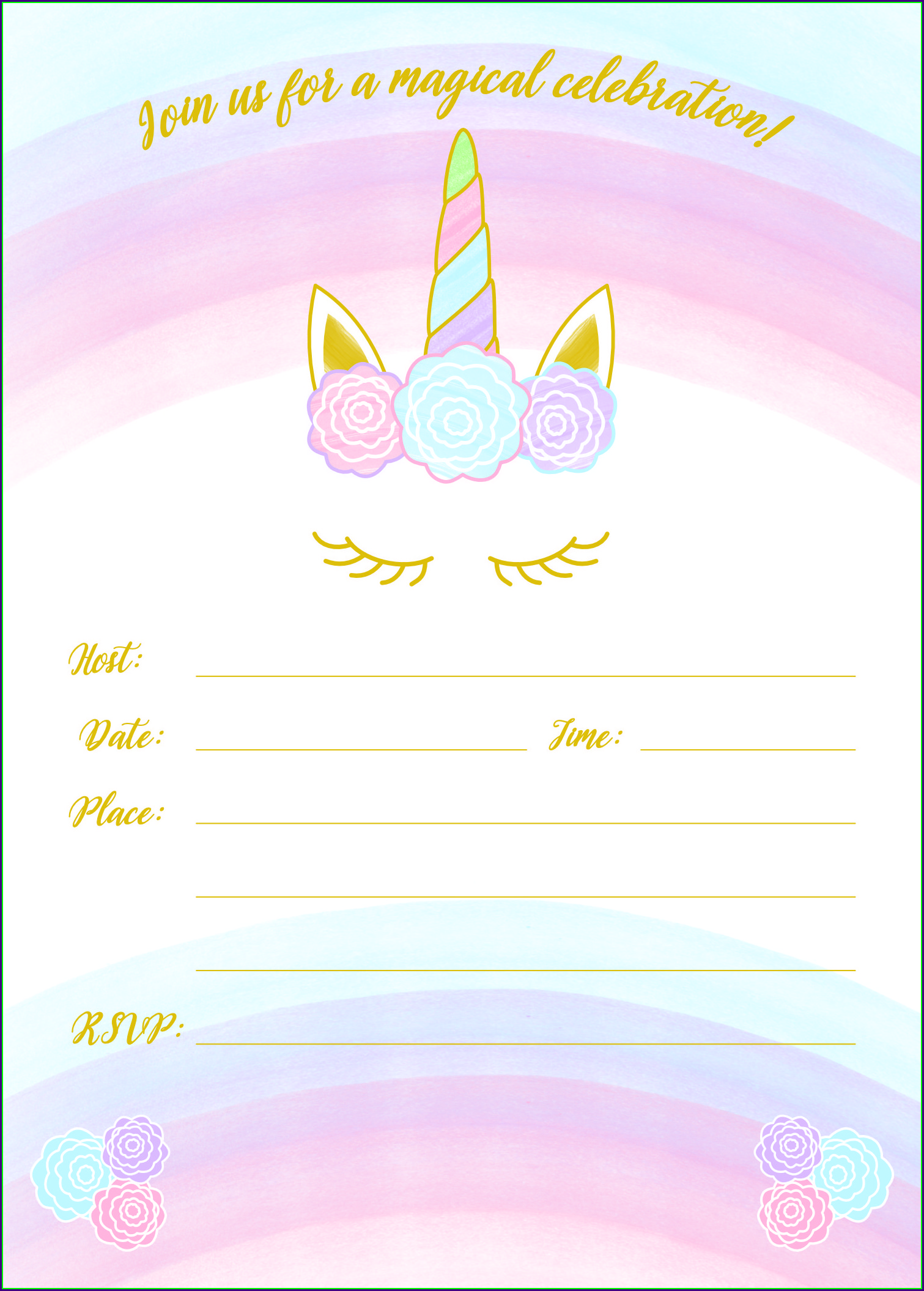 Blank Unicorn Invitation Template Free Download