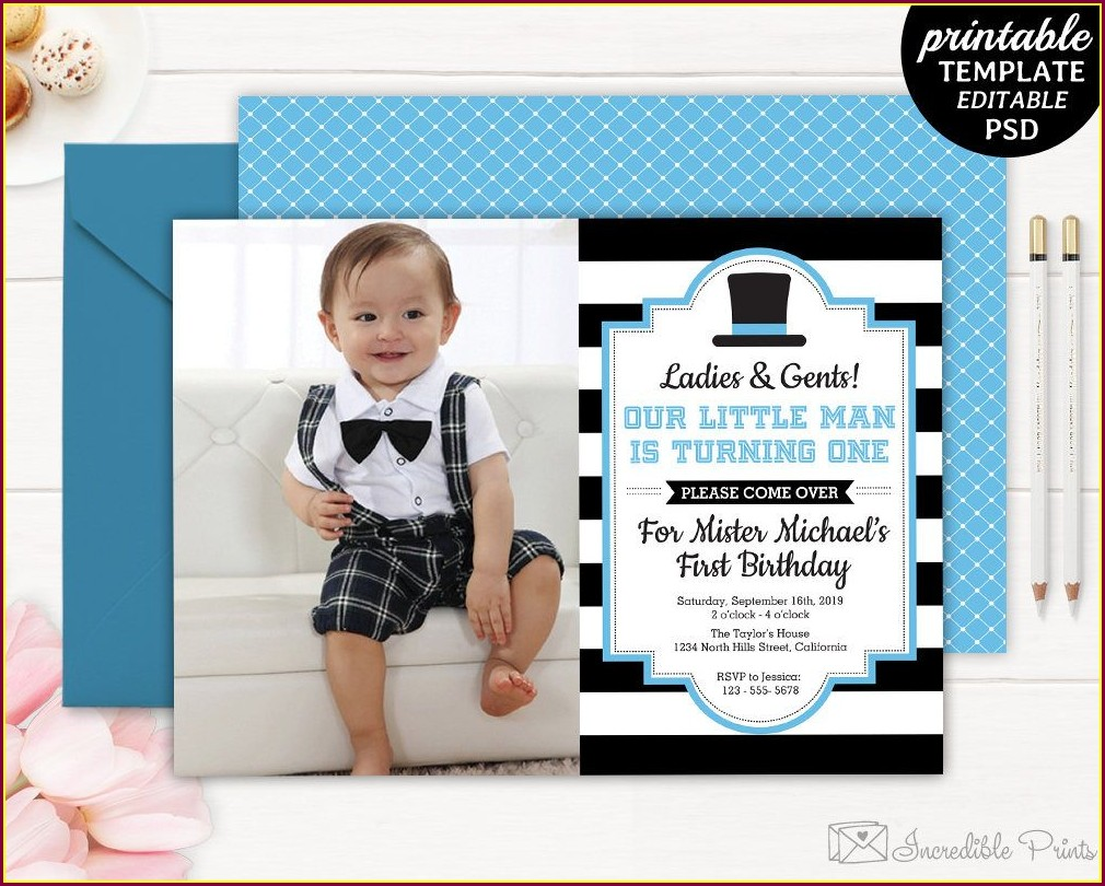 Blank Unique 1st Birthday Invitations Boy