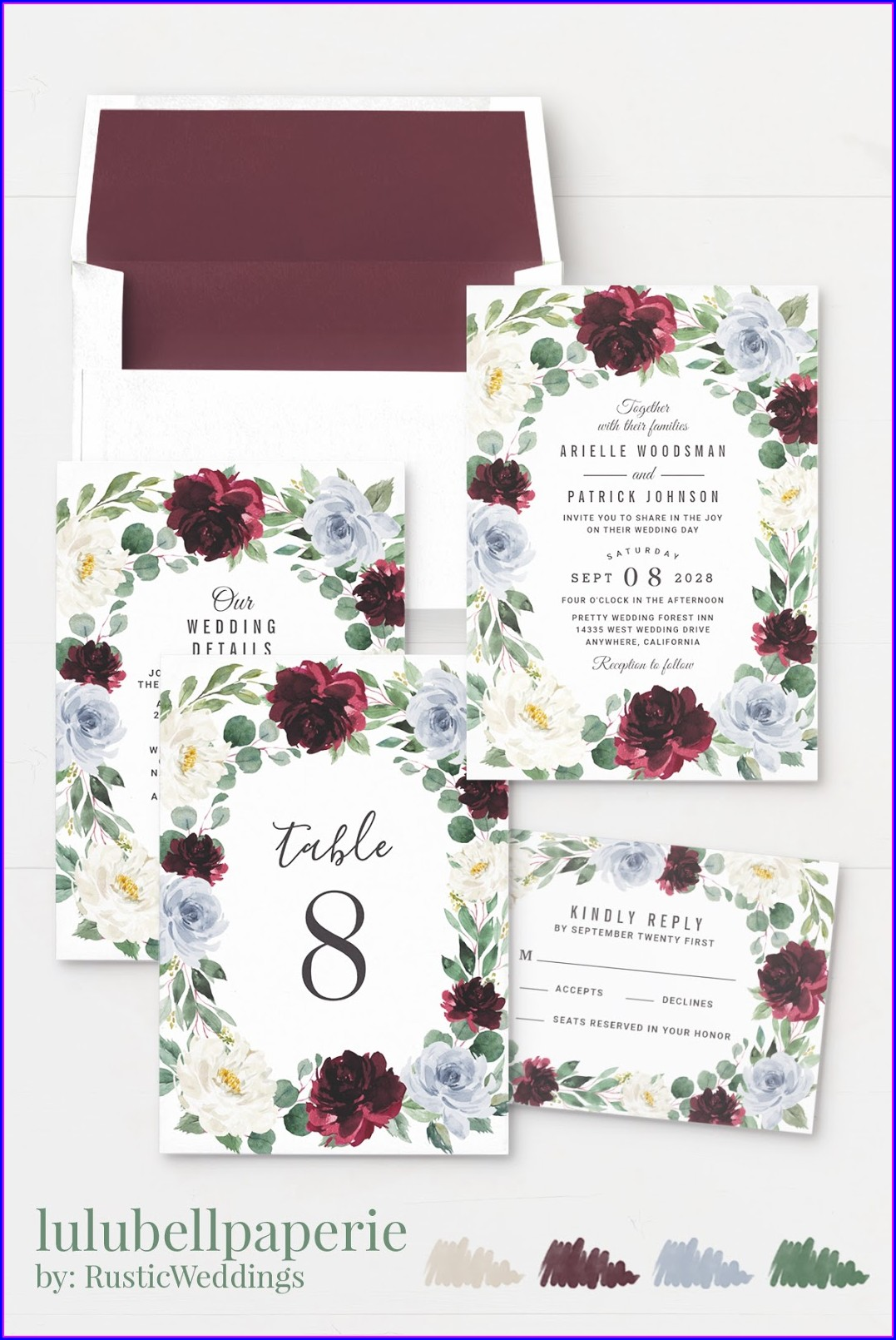 Blue And Burgundy Wedding Invitations
