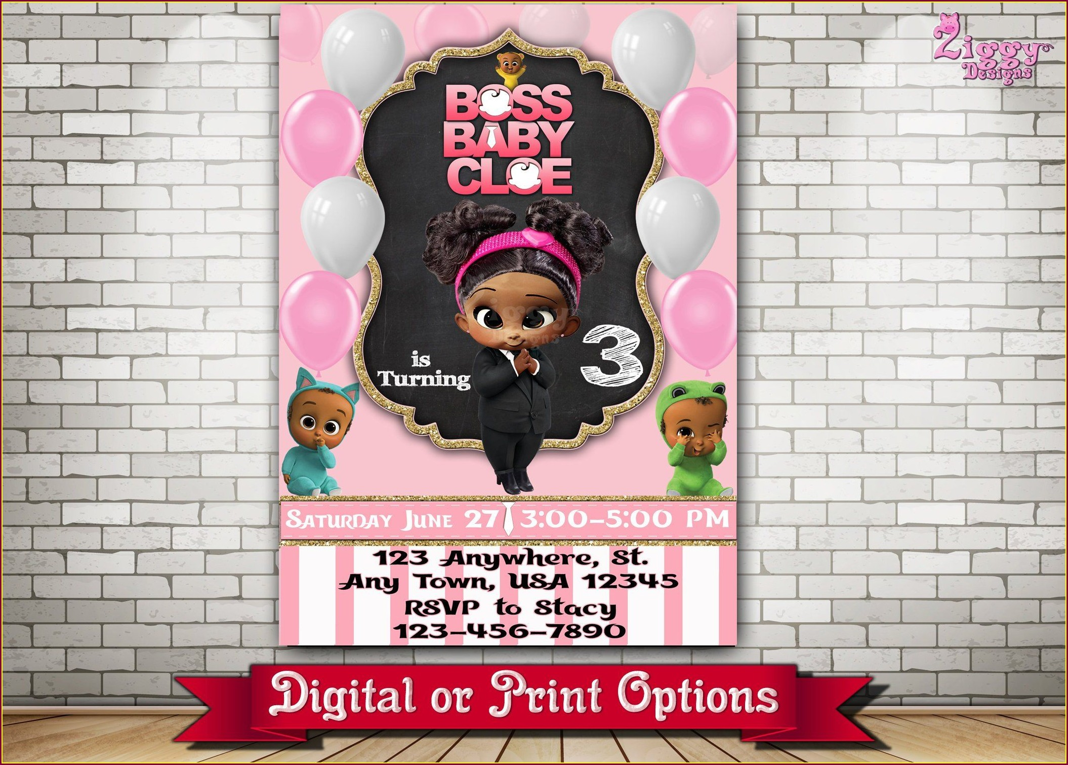 Boss Baby Girl 1st Birthday Invitations