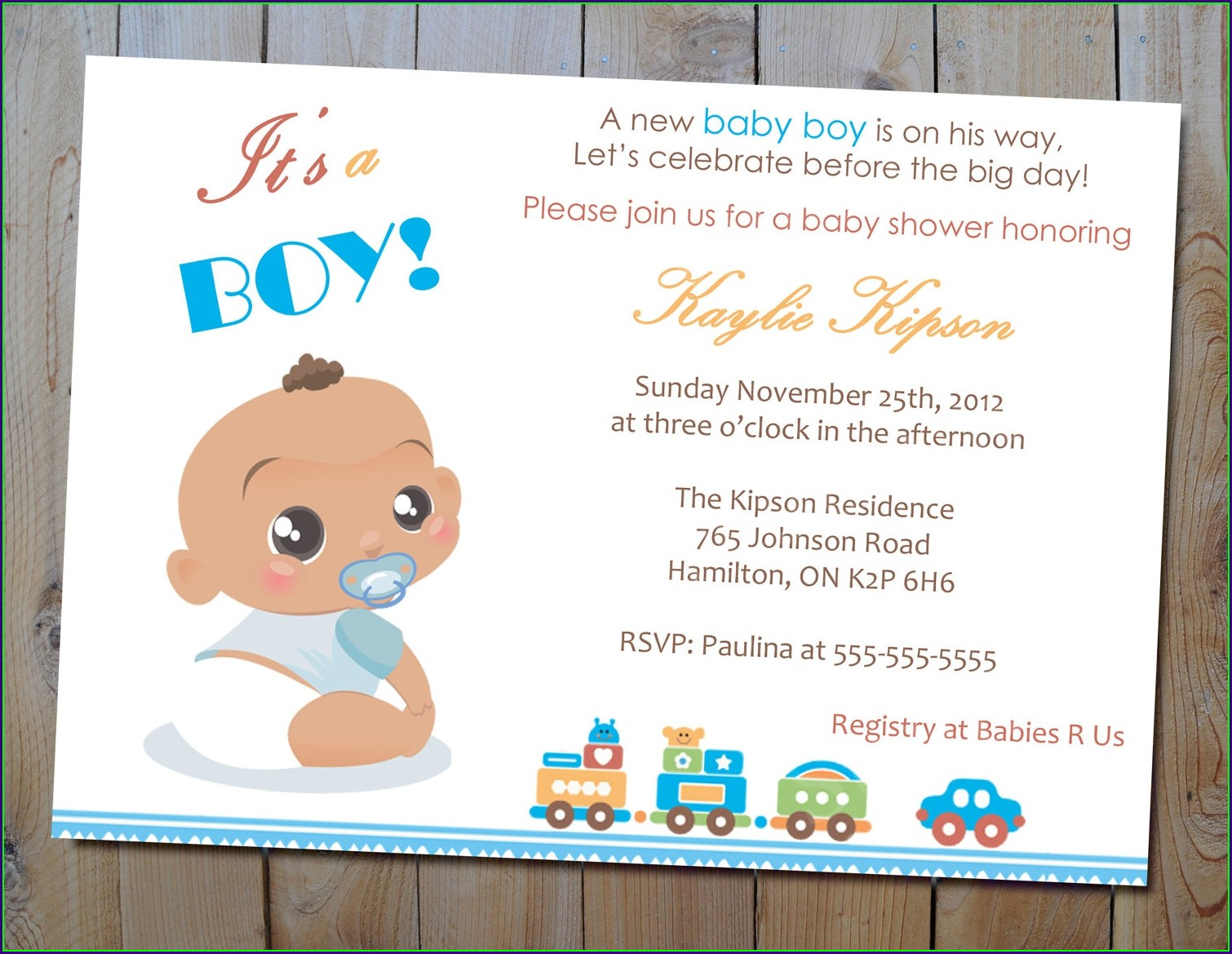 Boy Blank Baby Shower Invitations