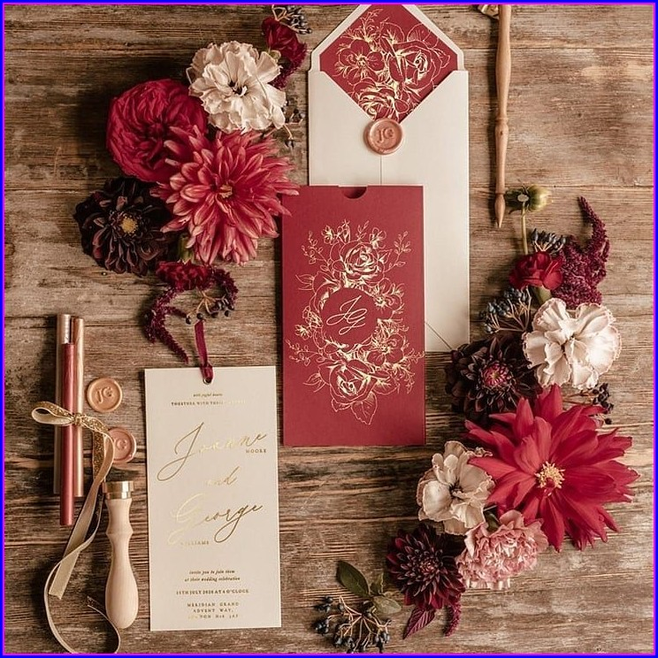 Burgundy Wedding Invitations Uk