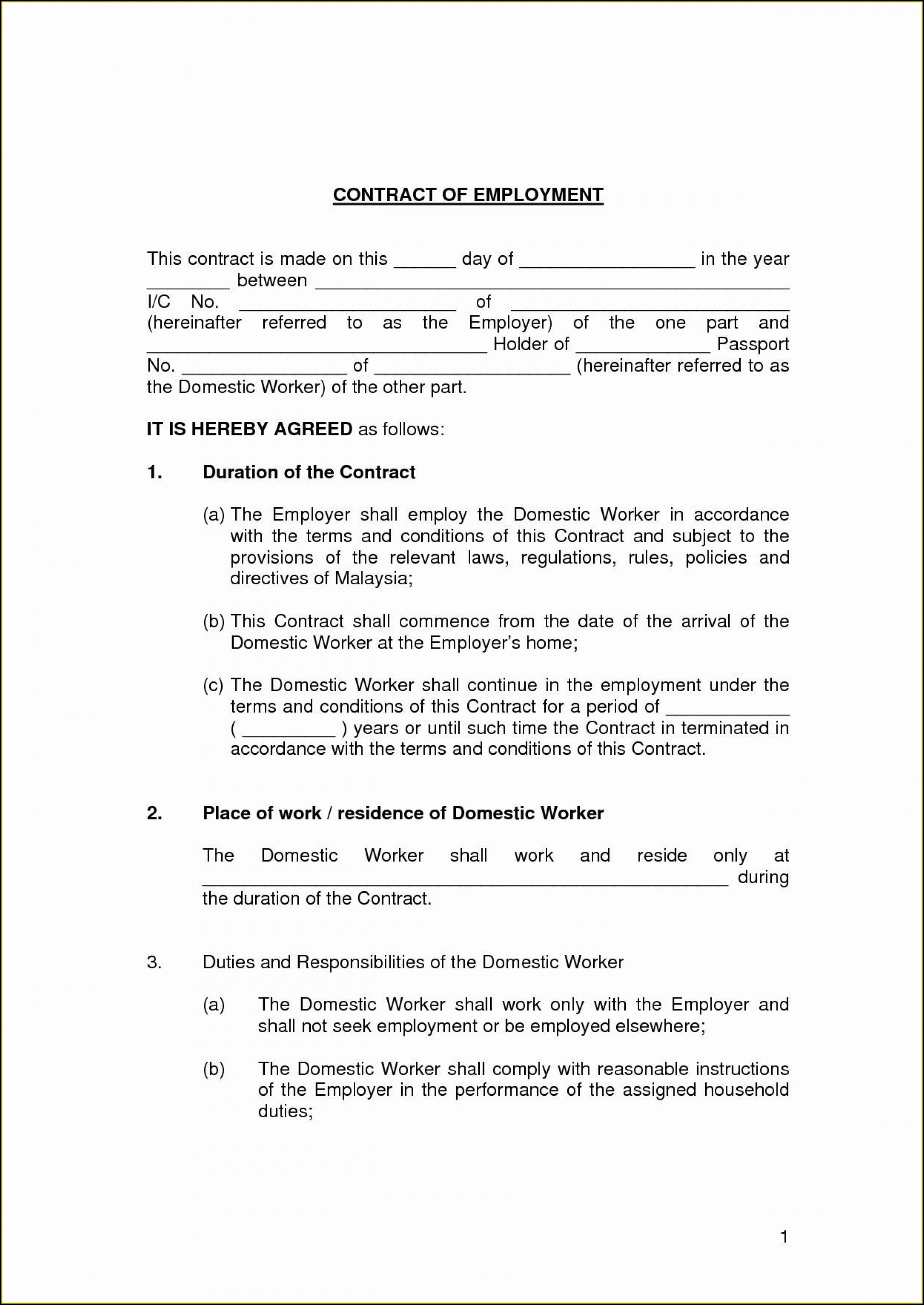 Casual Worker Contract Template South Africa