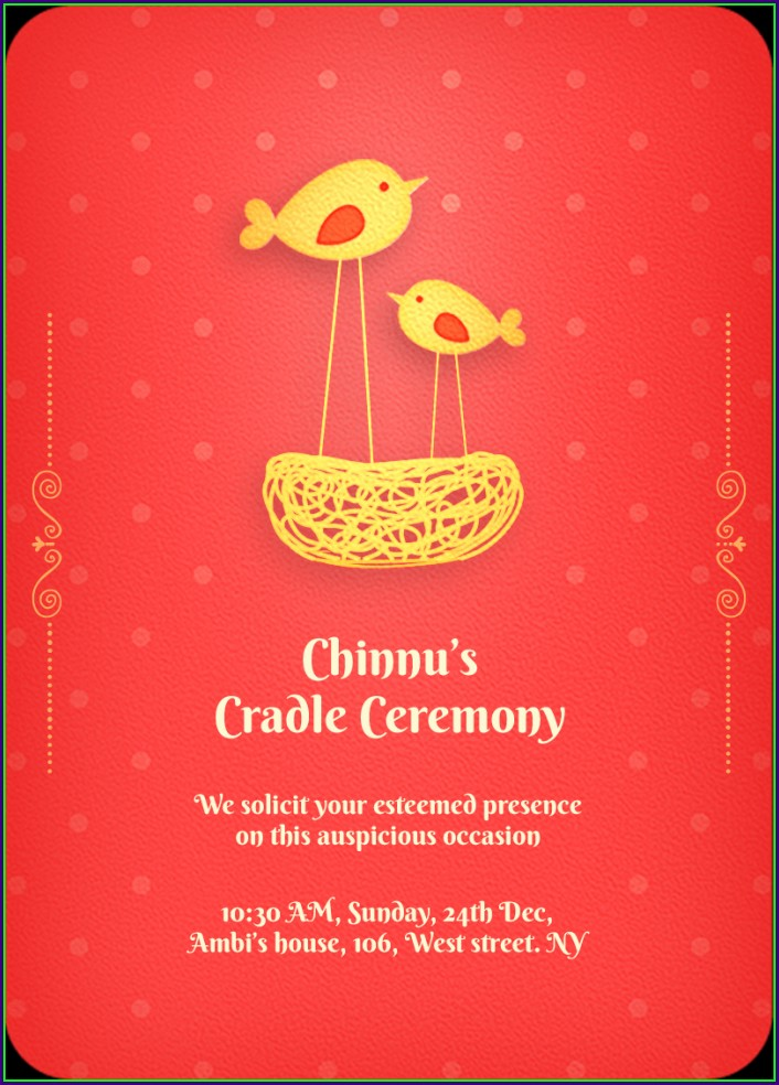 Cradle Ceremony Invitation Card Template Free Download