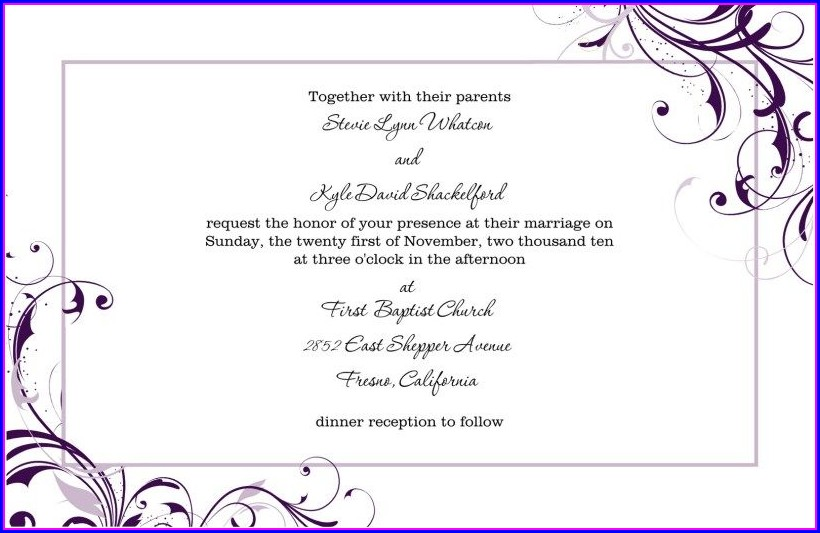 Customizable Blank Free Wedding Invitation Templates For Word