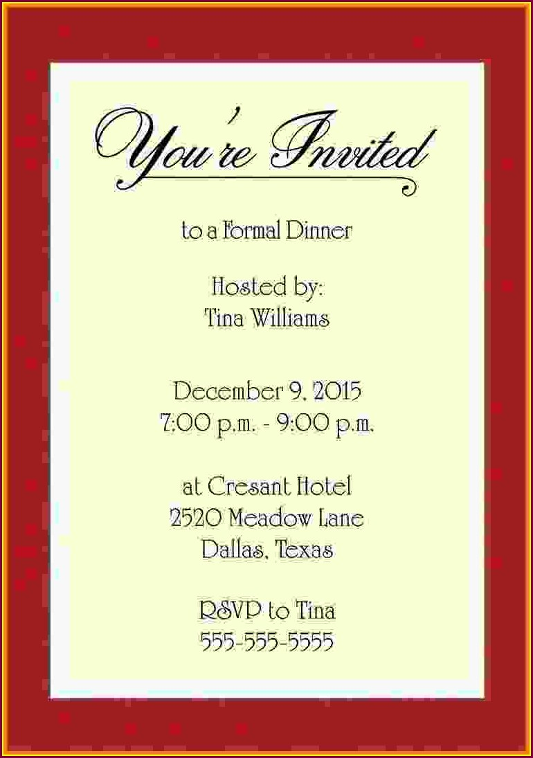 Dinner Invitation Template Free Download