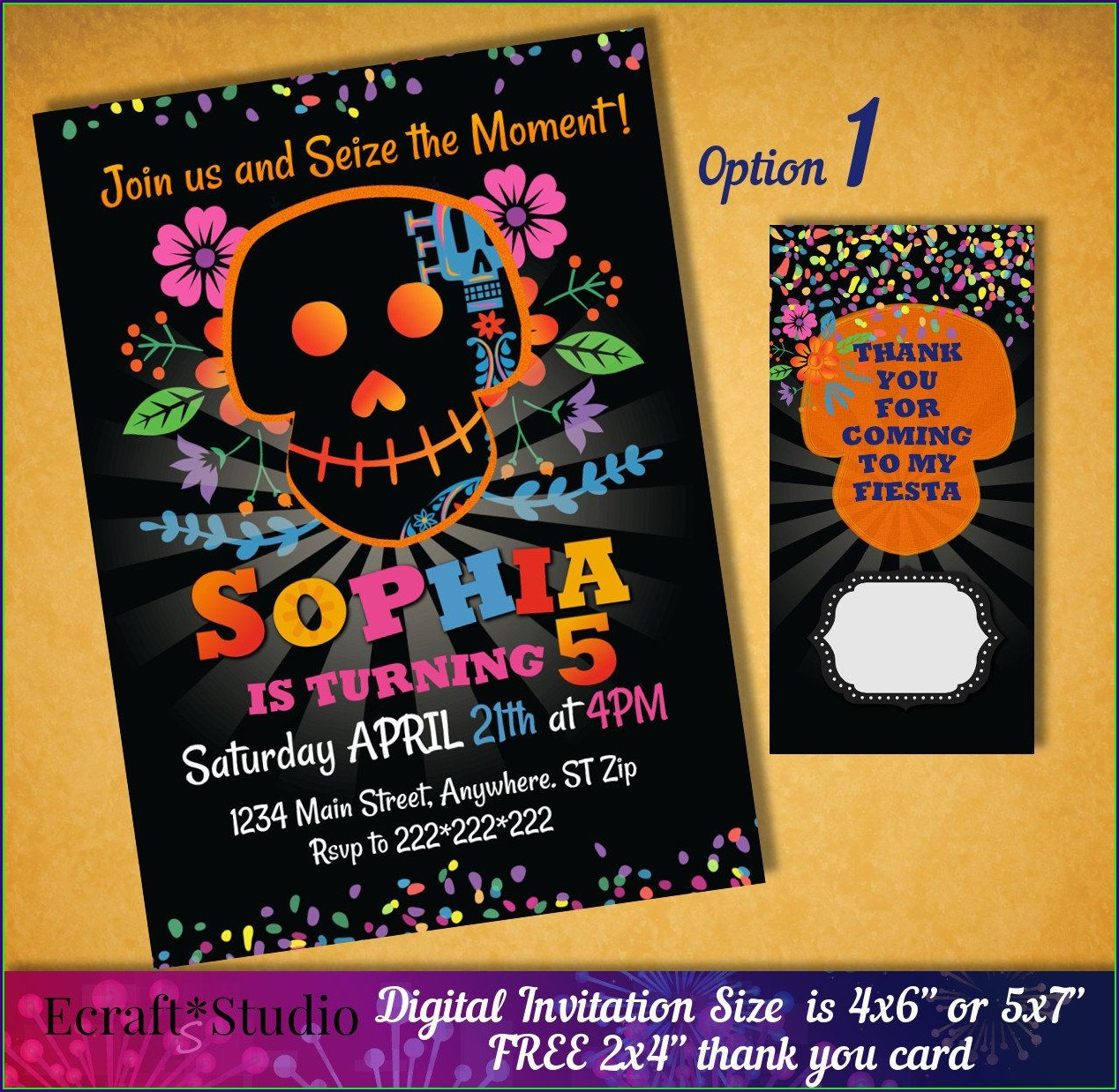Disney Coco Birthday Invitations