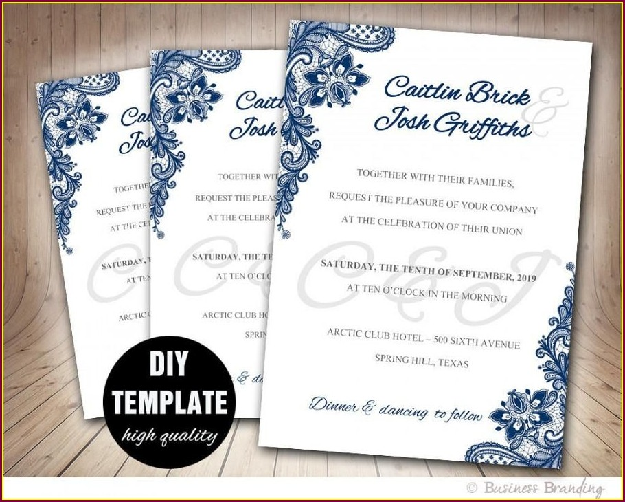 Diy Navy Blue Wedding Invitations