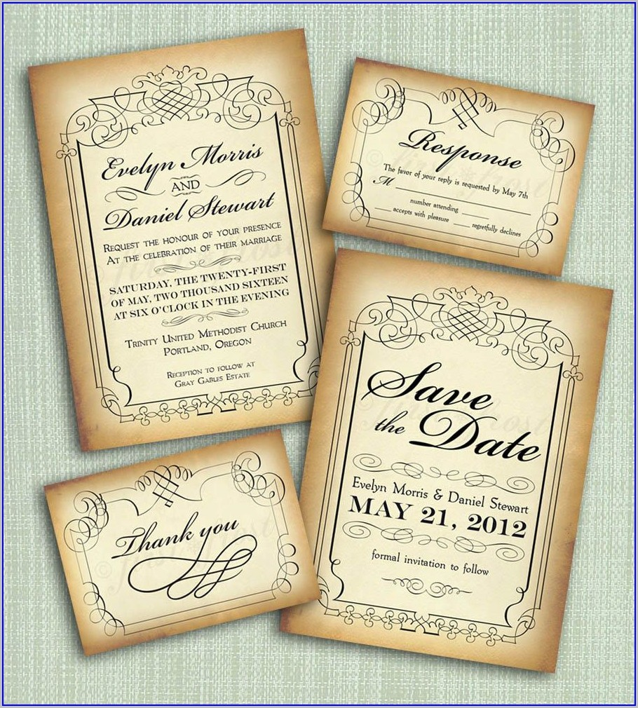 Diy Vintage Wedding Invitations