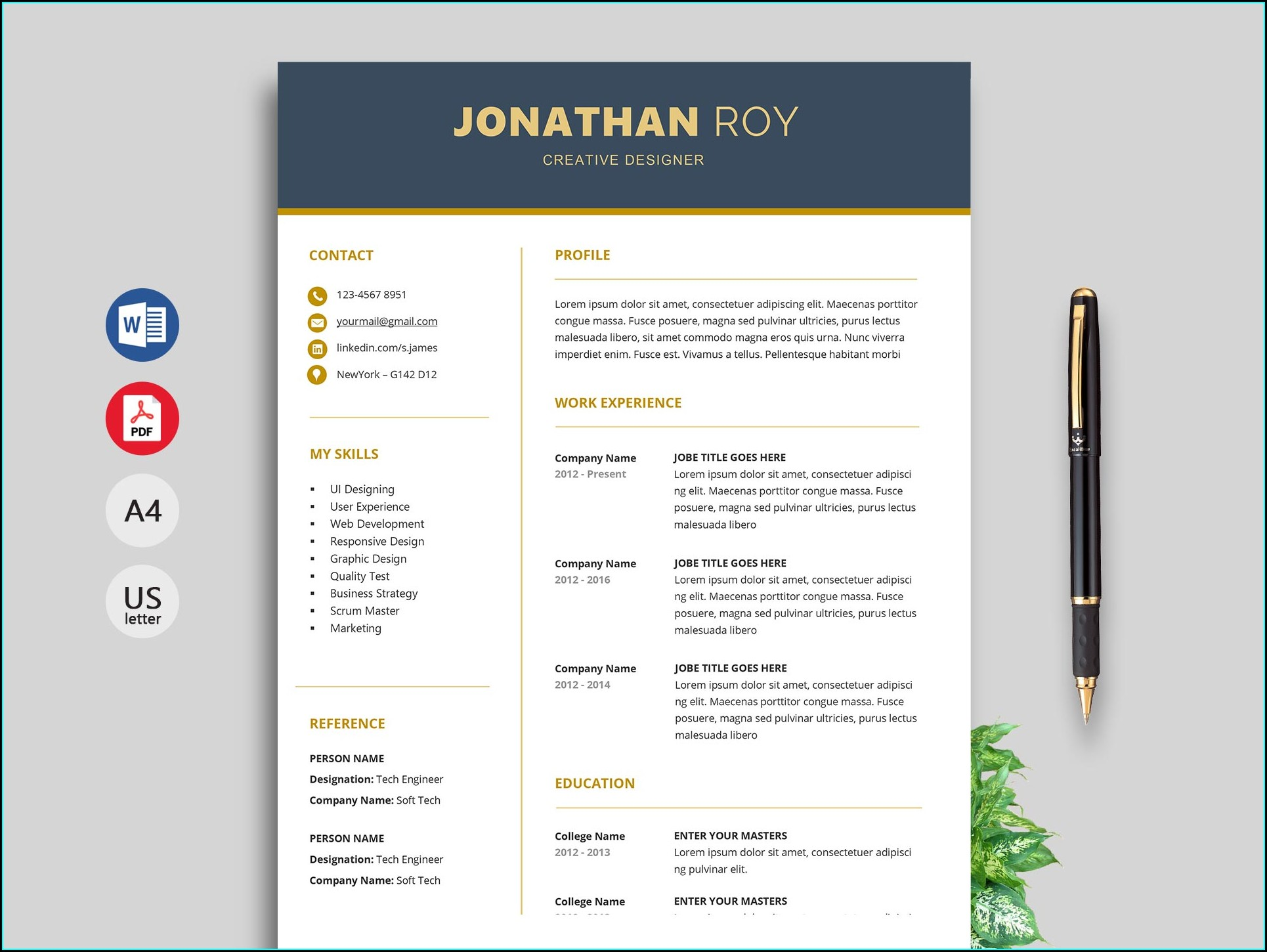 Document Cv Template Word Free Download 2019