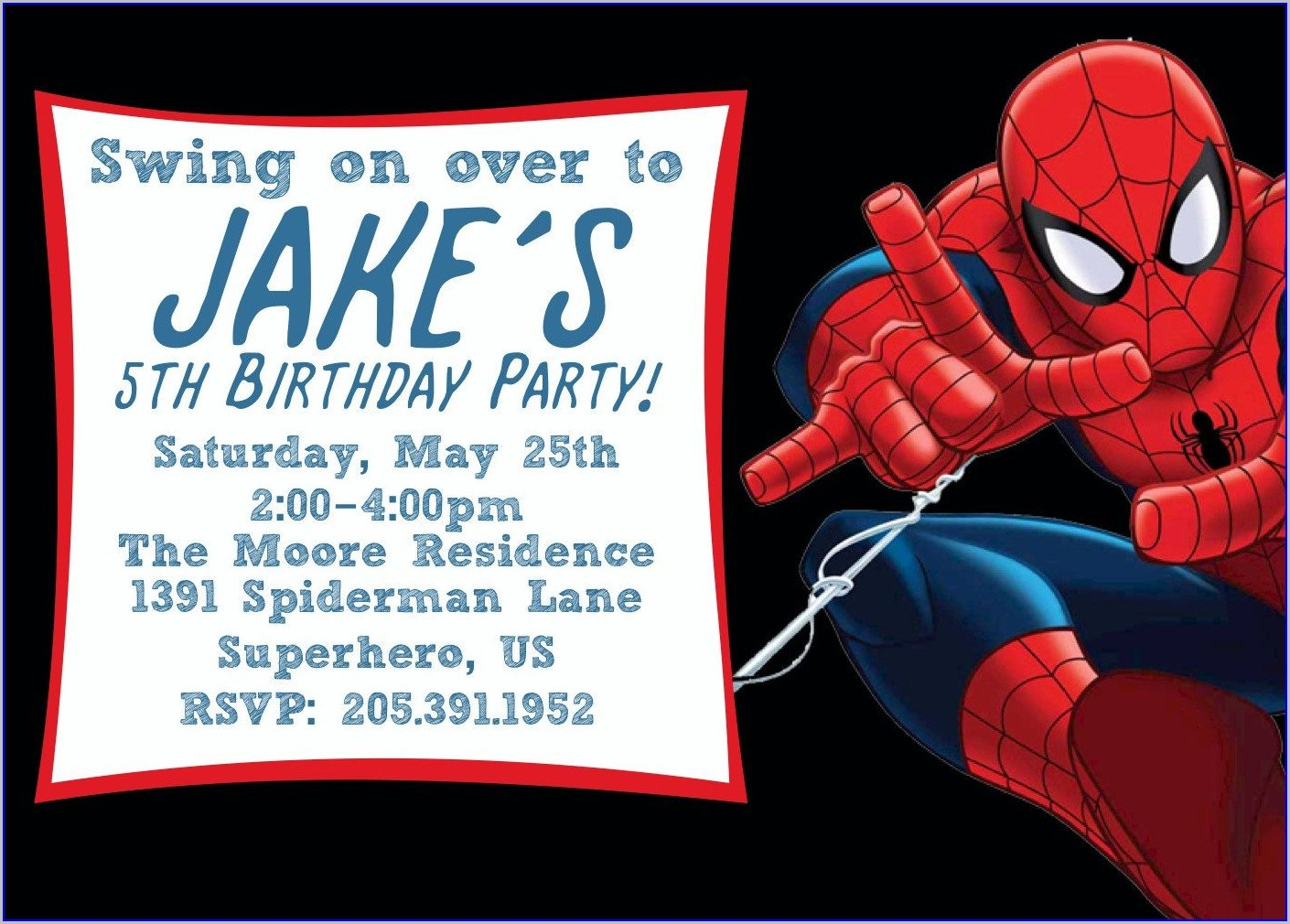 Downloadable Blank Free Editable Spiderman Birthday Invitation Templates