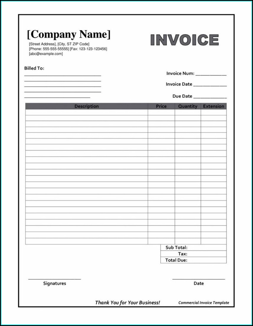 Downloadable Blank Invoice Template Word