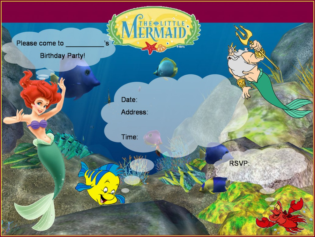Downloadable Little Mermaid Invitation Template Free