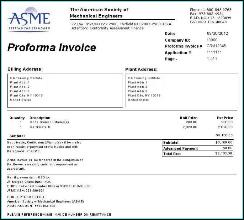 Downloadable Proforma Invoice Template Word