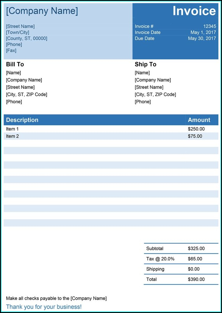Downloadable Simple Invoice Template Word